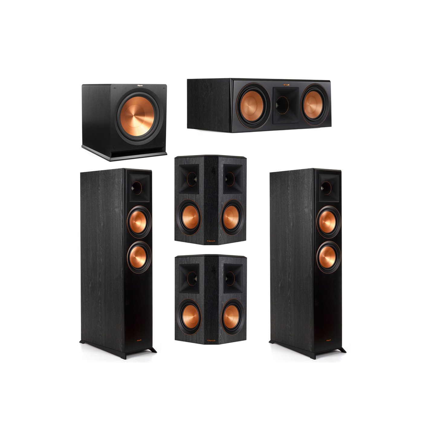 Klipsch 5.1 System with 2 RP-6000F Floorstanding Speakers, 1 Klipsch RP-600C Center Speaker, 2 Klipsch RP-502S Surround Speakers, 1 Klipsch R-115SW Subwoofer