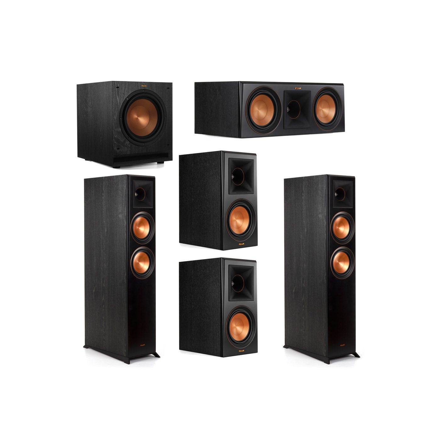 Klipsch 5.1 System with 2 RP-6000F Floorstanding Speakers, 1 Klipsch RP-600C Center Speaker, 2 Klipsch RP-600M Surround Speakers, 1 Klipsch SPL-100 Subwoofer