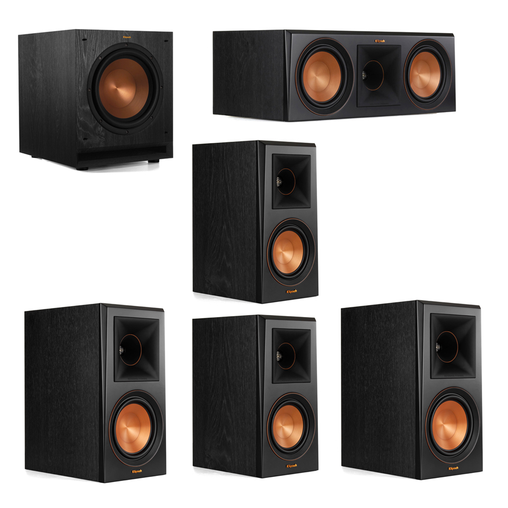 Klipsch 5.1 System with 2 RP-600M Bookshelf Speakers, 1 Klipsch RP-600C Center Speaker, 2 Klipsch RP-500M Surround Speakers, 1 Klipsch SPL-100 Subwoofer