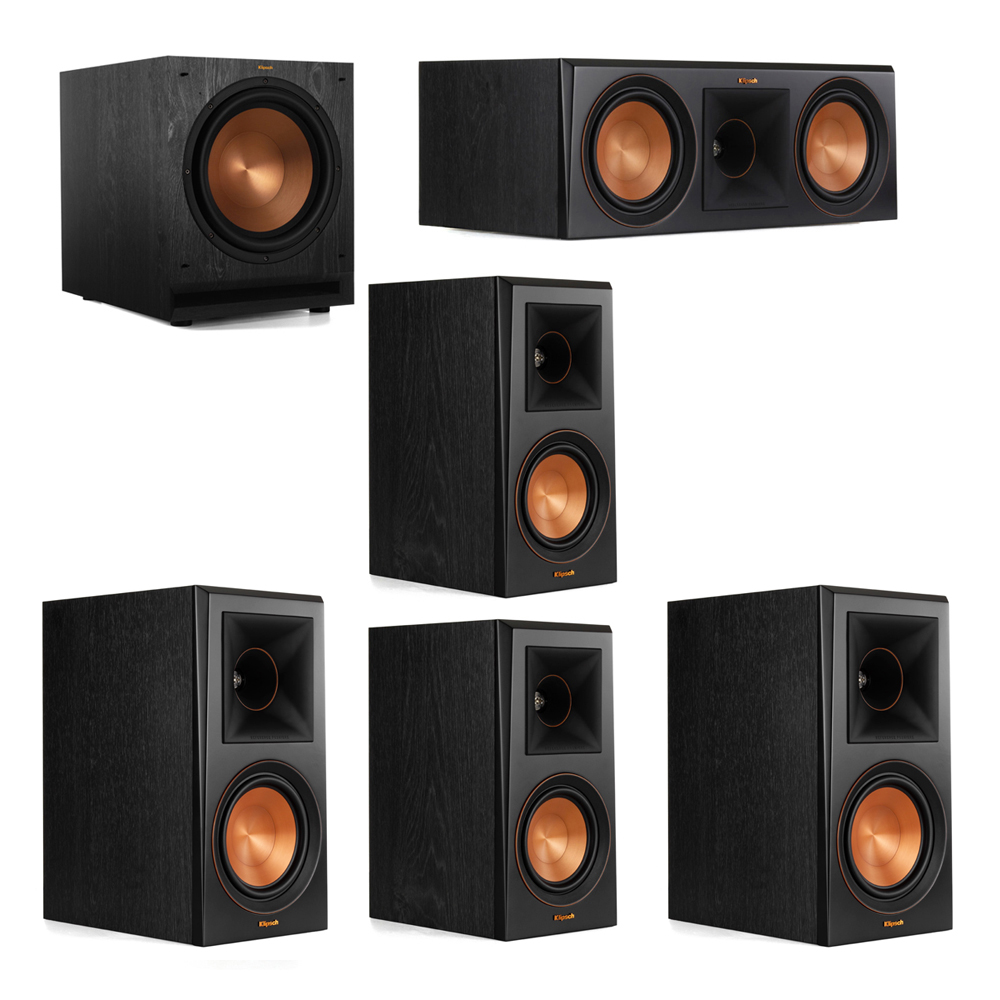 Klipsch 5.1 System with 2 RP-600M Bookshelf Speakers, 1 Klipsch RP-600C Center Speaker, 2 Klipsch RP-500M Surround Speakers, 1 Klipsch SPL-120 Subwoofer