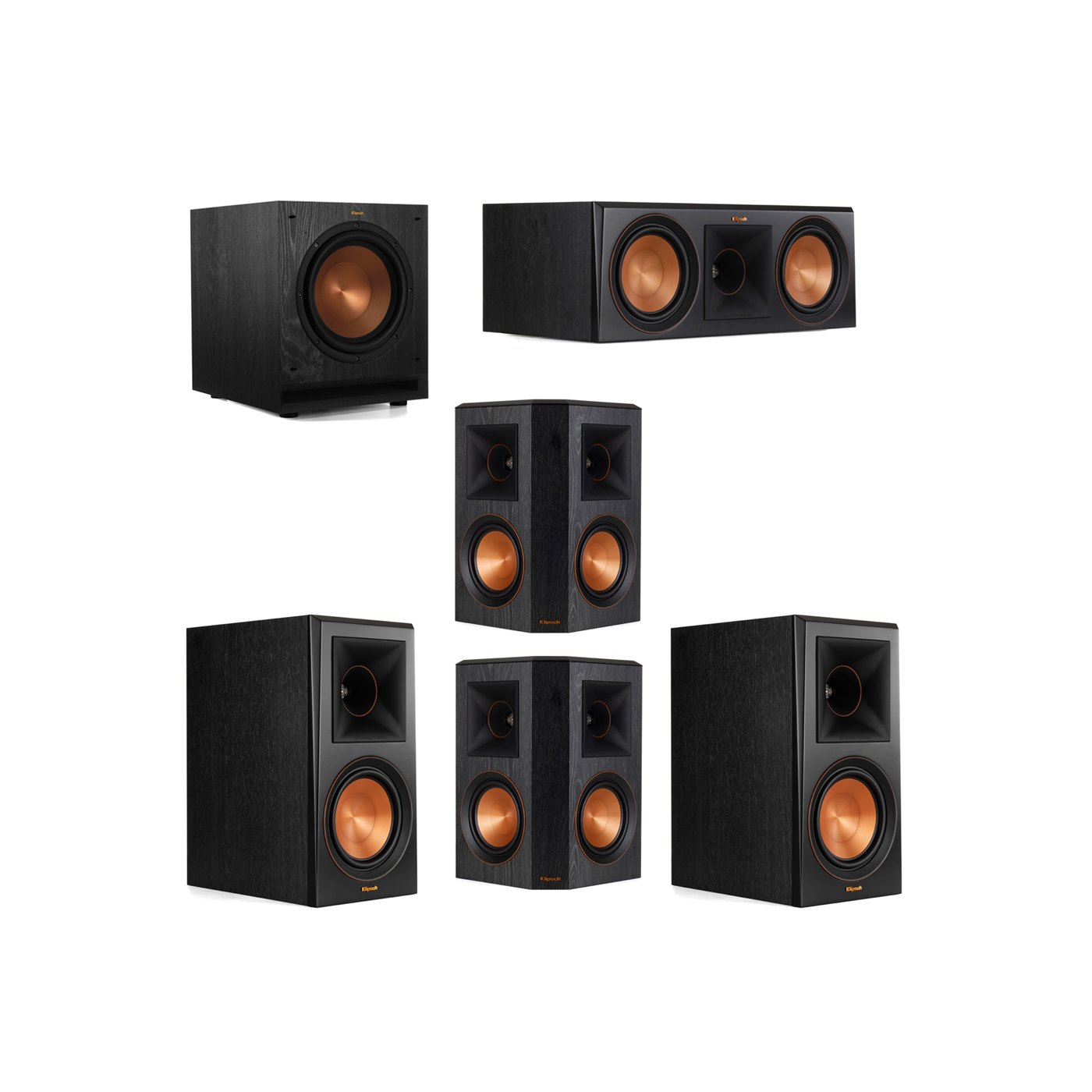 Klipsch 5.1 System with 2 RP-600M Bookshelf Speakers, 1 Klipsch RP-600C Center Speaker, 2 Klipsch RP-502S Surround Speakers, 1 Klipsch SPL-100 Subwoofer