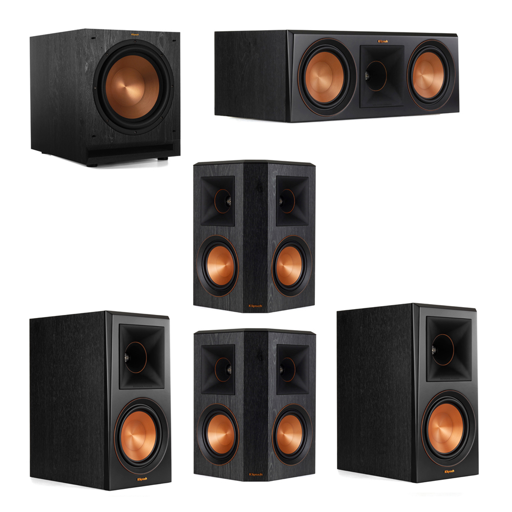 Klipsch 5.1 System with 2 RP-600M Bookshelf Speakers, 1 Klipsch RP-600C Center Speaker, 2 Klipsch RP-502S Surround Speakers, 1 Klipsch SPL-120 Subwoofer