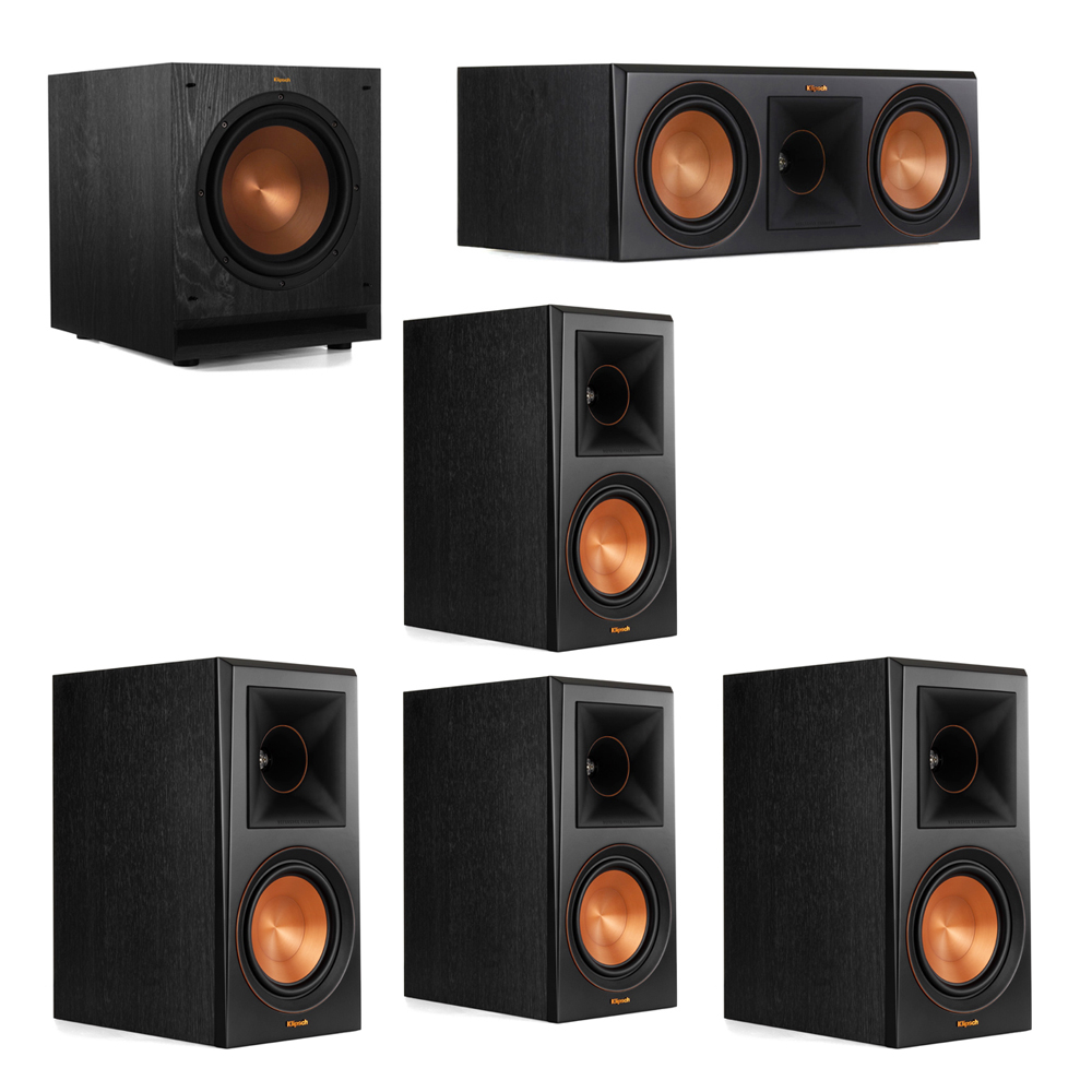 Klipsch 5.1 System with 2 RP-600M Bookshelf Speakers, 1 Klipsch RP-600C Center Speaker, 2 Klipsch RP-600M Surround Speakers, 1 Klipsch SPL-100 Subwoofer
