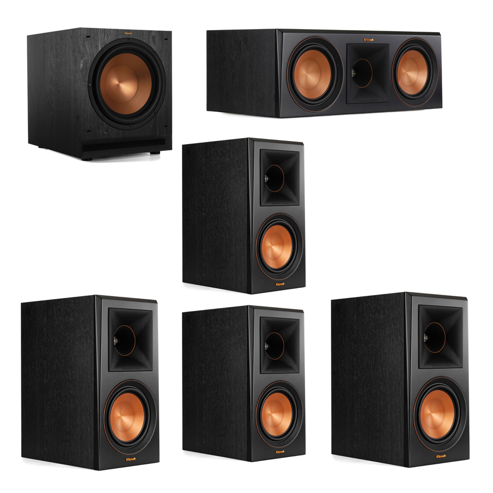 Klipsch 5.1 System with 2 RP-600M Bookshelf Speakers, 1 Klipsch RP-600C Center Speaker, 2 Klipsch RP-600M Surround Speakers, 1 Klipsch SPL-120 Subwoofer