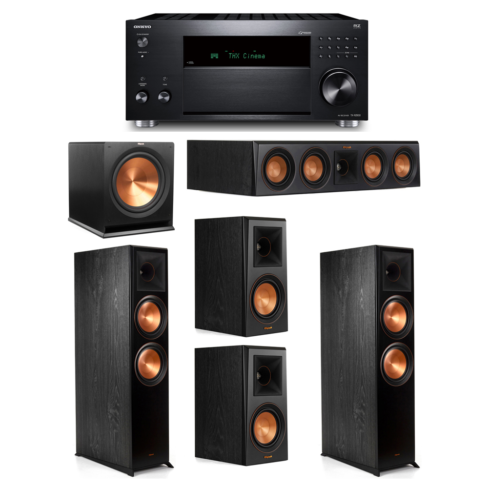 Klipsch 5.1 System with 2 RP-8000F, 1 RP-404C, 2 RP-500M, 1 R-115SW,  1 Onkyo TX-RZ830 Receiver