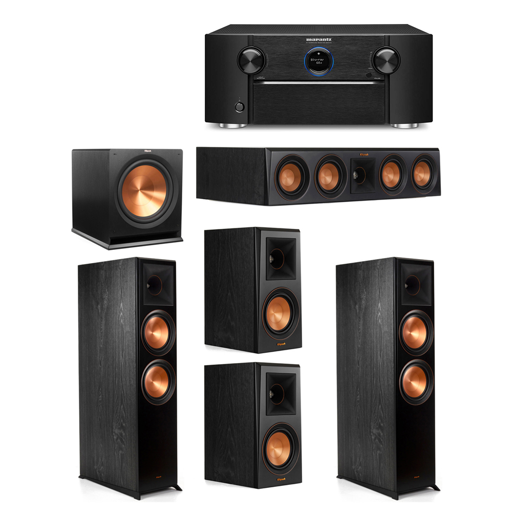Klipsch 5.1 System with 2 RP-8000F Floorstanding Speakers, 1 Klipsch RP-404C Center Speaker, 2 Klipsch RP-500M Surround Speakers, 1 Klipsch R-115SW Subwoofer, 1 Marantz SR7012 A/V Receiver