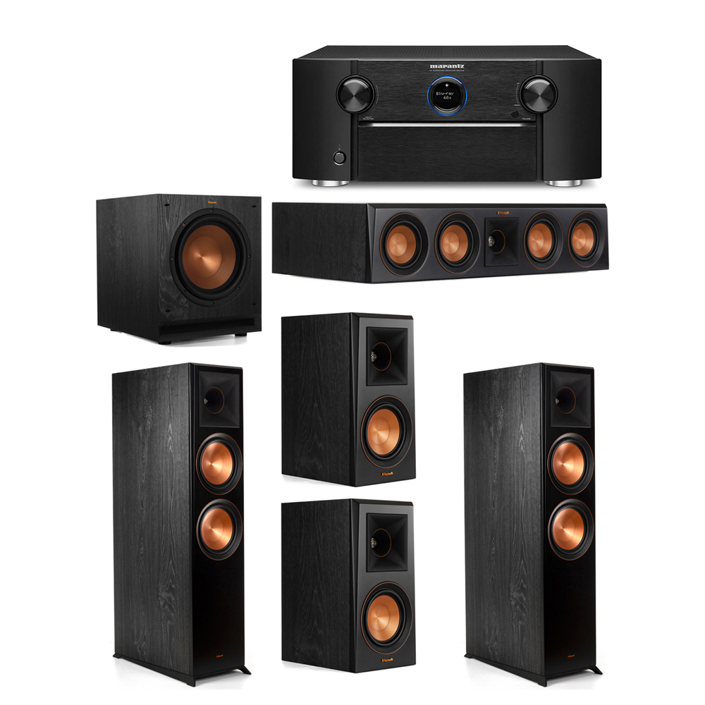 Klipsch 5.1 System with 2 RP-8000F Floorstanding Speakers, 1 Klipsch RP-404C Center Speaker, 2 Klipsch RP-500M Surround Speakers, 1 Klipsch SPL-100 Subwoofer, 1 Marantz SR7012 A/V Receiver