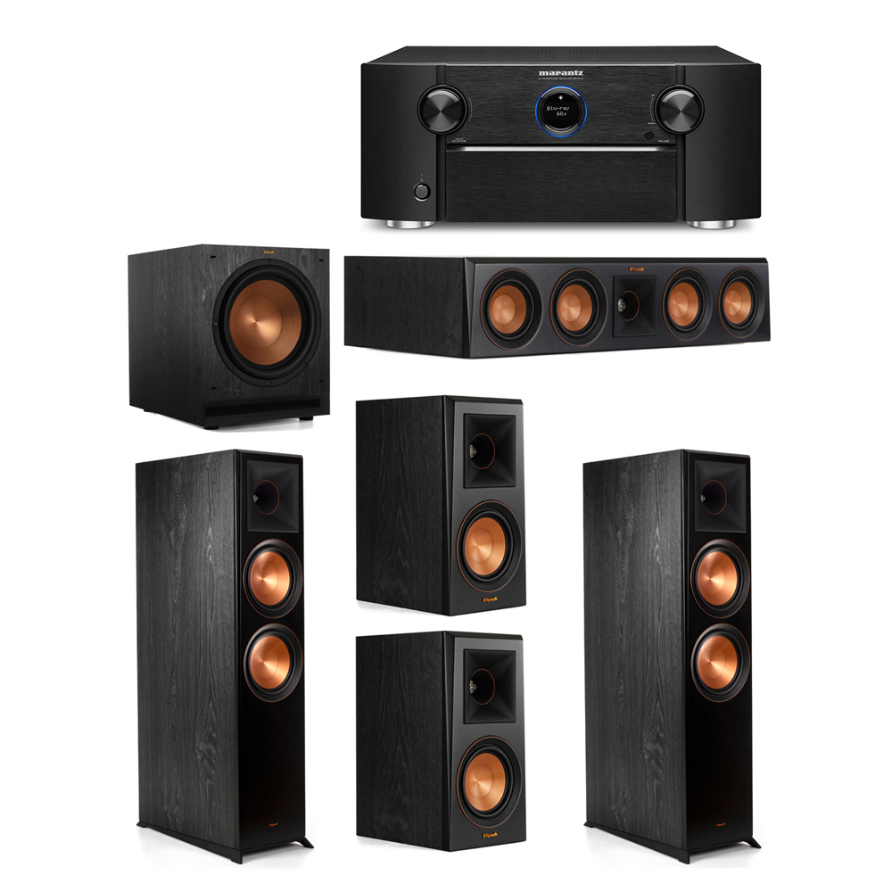 Klipsch 5.1 System with 2 RP-8000F Floorstanding Speakers, 1 Klipsch RP-404C Center Speaker, 2 Klipsch RP-500M Surround Speakers, 1 Klipsch SPL-120 Subwoofer, 1 Marantz SR7012 A/V Receiver