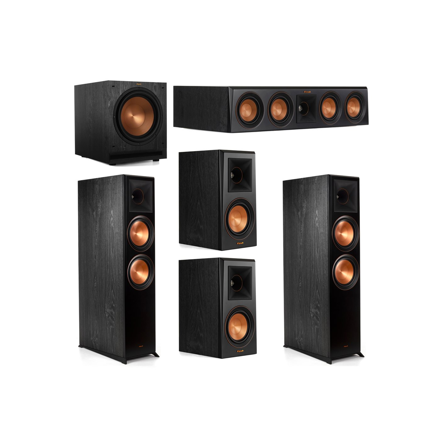 Klipsch 5.1 System with 2 RP-8000F Floorstanding Speakers, 1 Klipsch RP-404C Center Speaker, 2 Klipsch RP-500M Surround Speakers, 1 Klipsch SPL-120 Subwoofer
