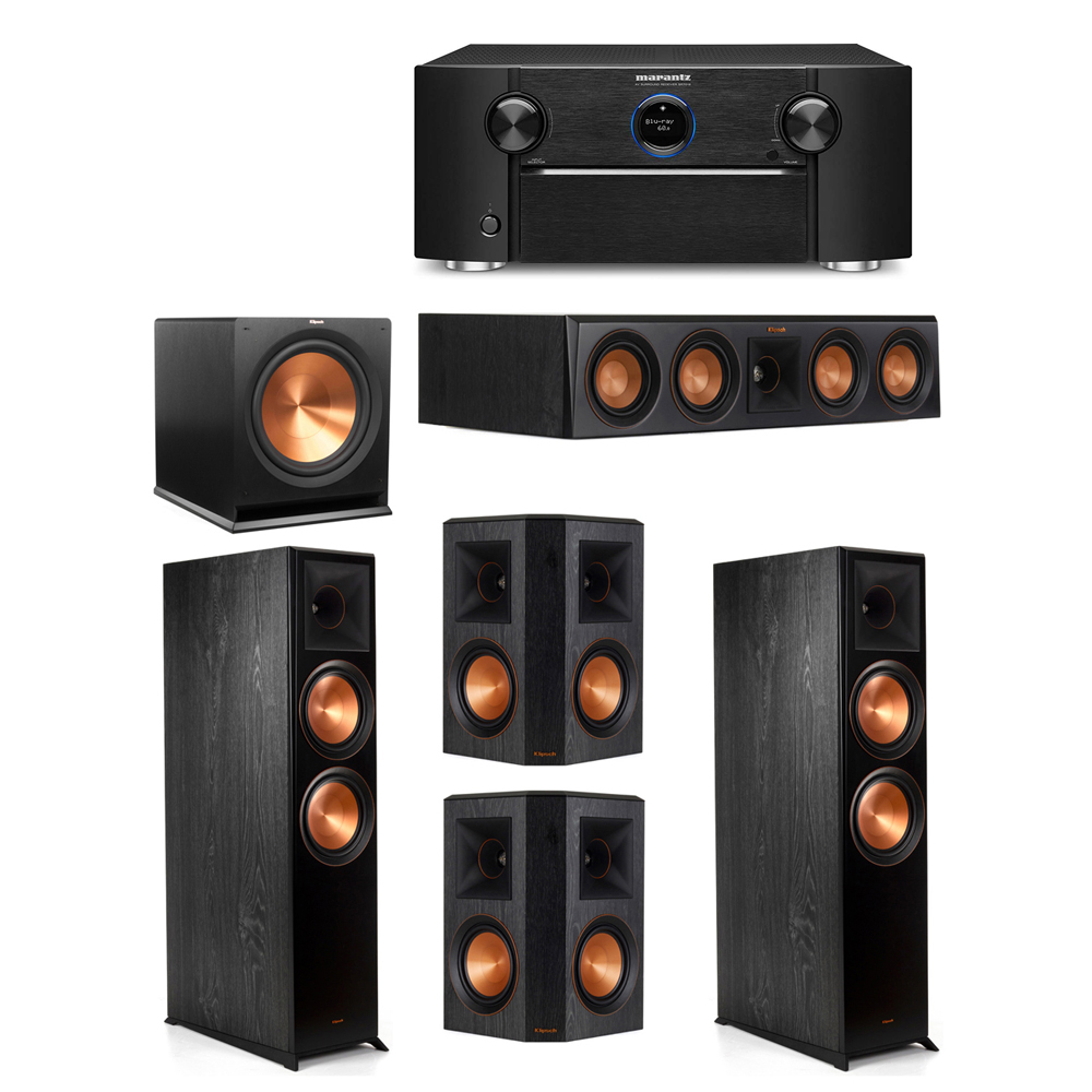 Klipsch 5.1 System with 2 RP-8000F Floorstanding Speakers, 1 Klipsch RP-404C Center Speaker, 2 Klipsch RP-502S Surround Speakers, 1 Klipsch R-115SW Subwoofer, 1 Marantz SR7012 A/V Receiver
