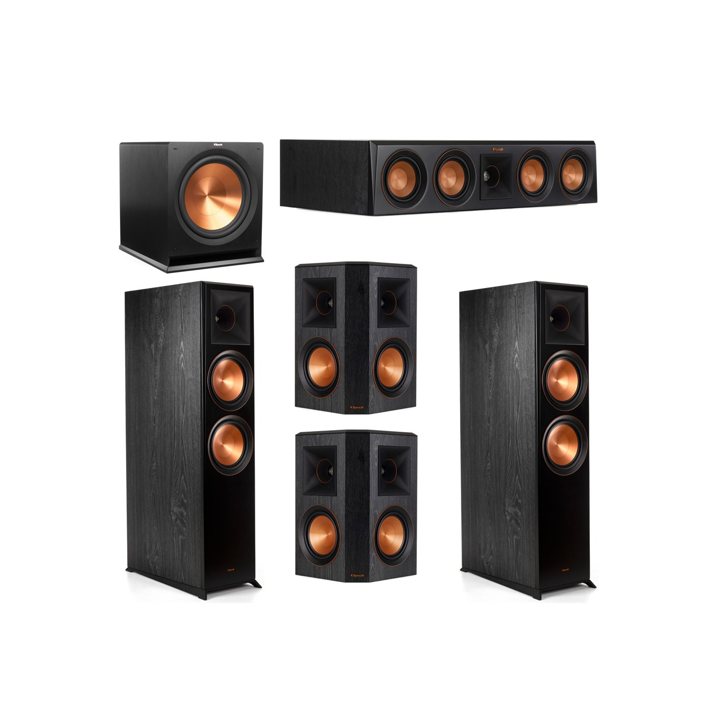 Klipsch 5.1 System with 2 RP-8000F Floorstanding Speakers, 1 Klipsch RP-404C Center Speaker, 2 Klipsch RP-502S Surround Speakers, 1 Klipsch R-115SW Subwoofer