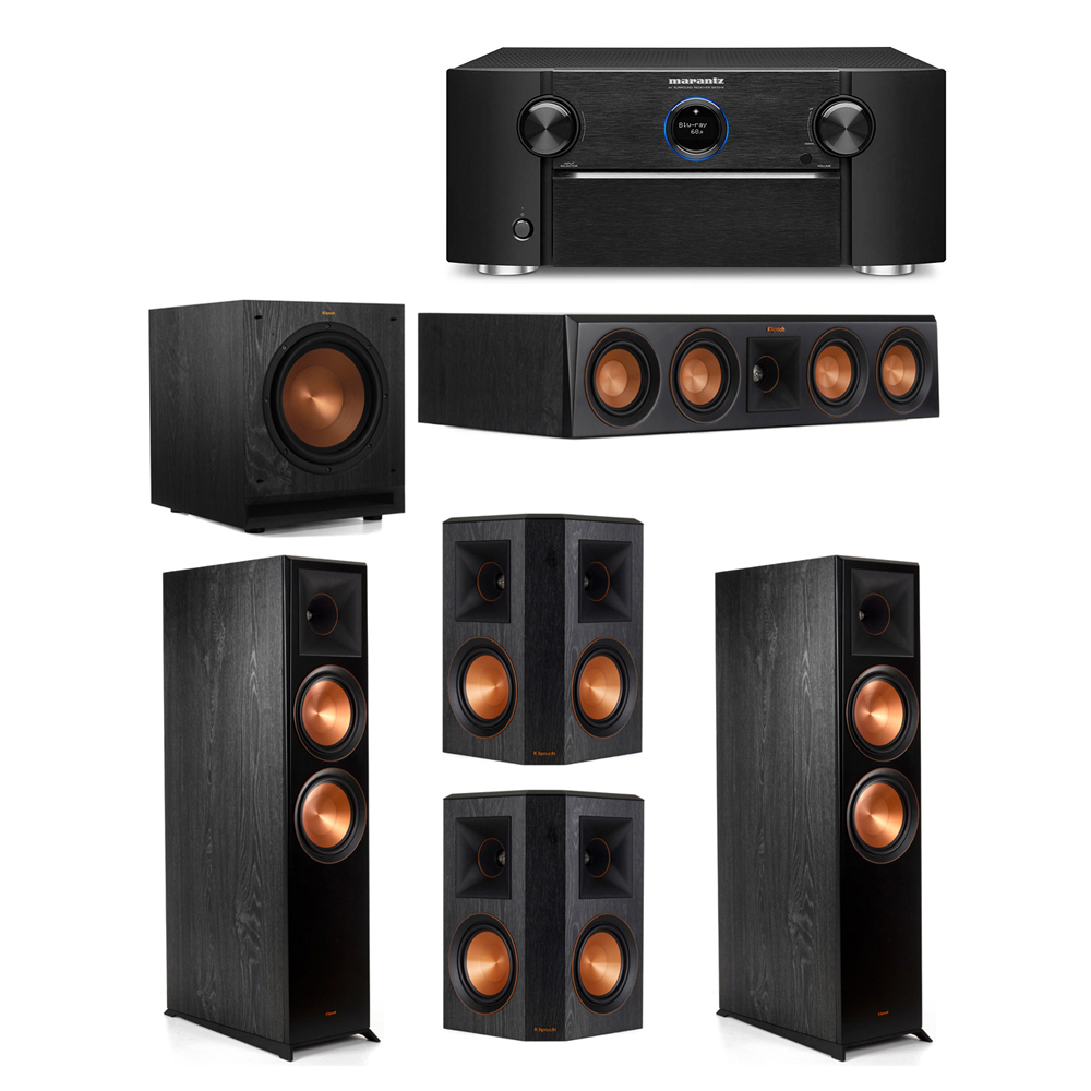 Klipsch 5.1 System with 2 RP-8000F Floorstanding Speakers, 1 Klipsch RP-404C Center Speaker, 2 Klipsch RP-502S Surround Speakers, 1 Klipsch SPL-100 Subwoofer, 1 Marantz SR7012 A/V Receiver