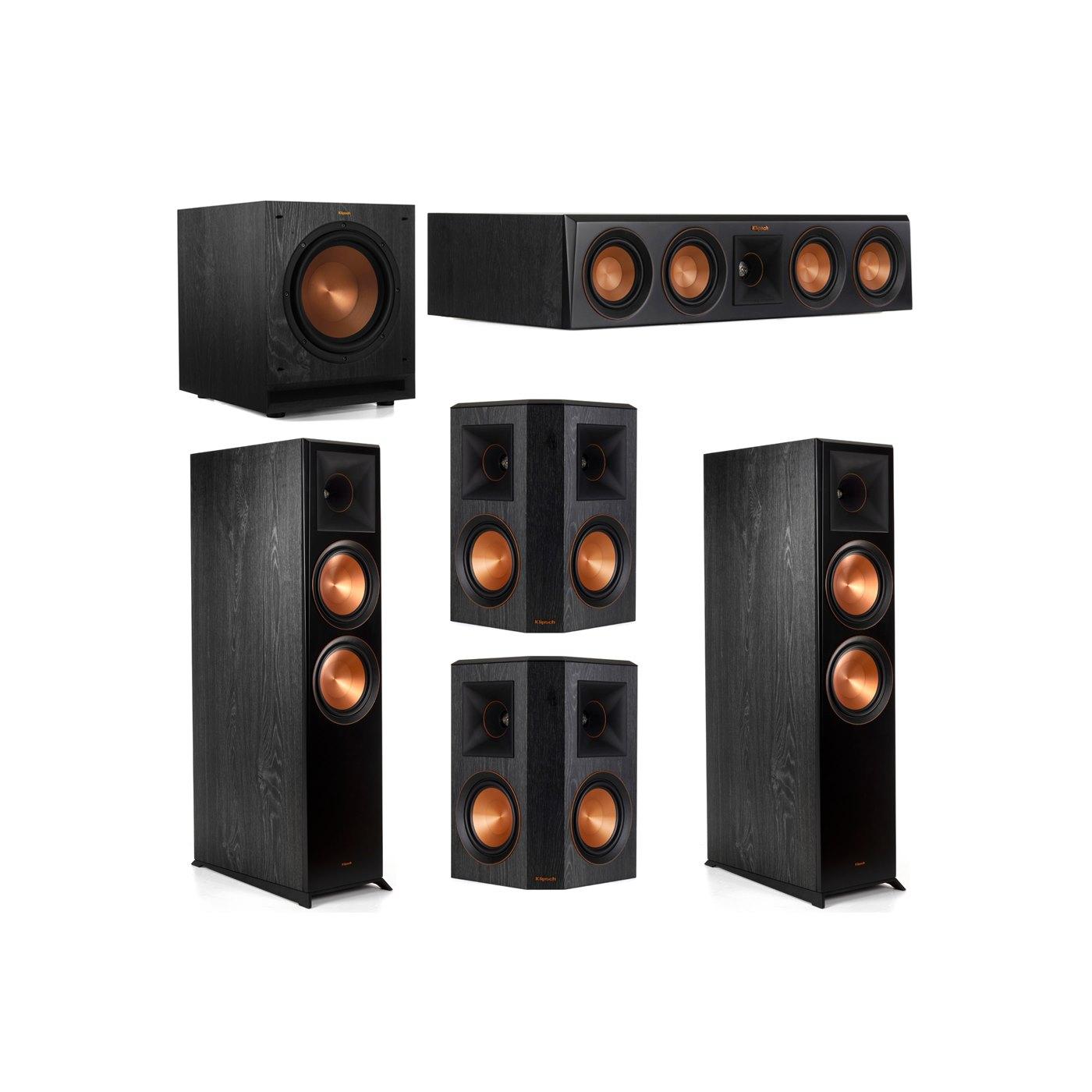 Klipsch 5.1 System with 2 RP-8000F Floorstanding Speakers, 1 Klipsch RP-404C Center Speaker, 2 Klipsch RP-502S Surround Speakers, 1 Klipsch SPL-100 Subwoofer