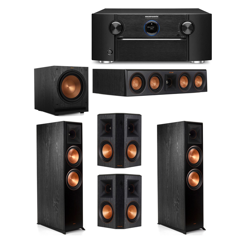 Klipsch 5.1 System with 2 RP-8000F Floorstanding Speakers, 1 Klipsch RP-404C Center Speaker, 2 Klipsch RP-502S Surround Speakers, 1 Klipsch SPL-120 Subwoofer, 1 Marantz SR7012 A/V Receiver