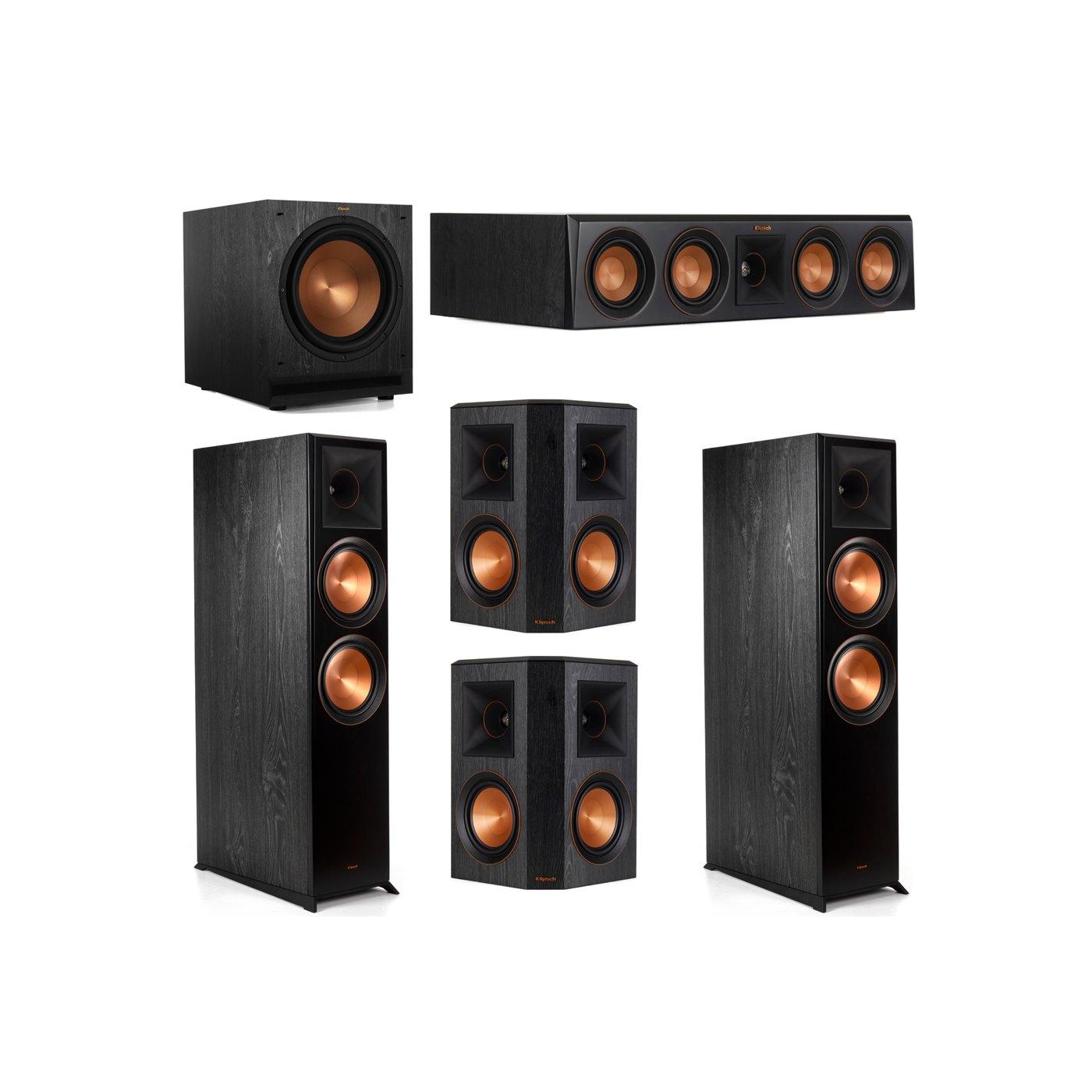 Klipsch 5.1 System with 2 RP-8000F Floorstanding Speakers, 1 Klipsch RP-404C Center Speaker, 2 Klipsch RP-502S Surround Speakers, 1 Klipsch SPL-120 Subwoofer