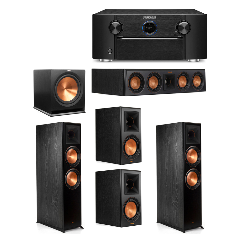 Klipsch 5.1 System with 2 RP-8000F Floorstanding Speakers, 1 Klipsch RP-404C Center Speaker, 2 Klipsch RP-600M Surround Speakers, 1 Klipsch R-115SW Subwoofer, 1 Marantz SR7012 A/V Receiver
