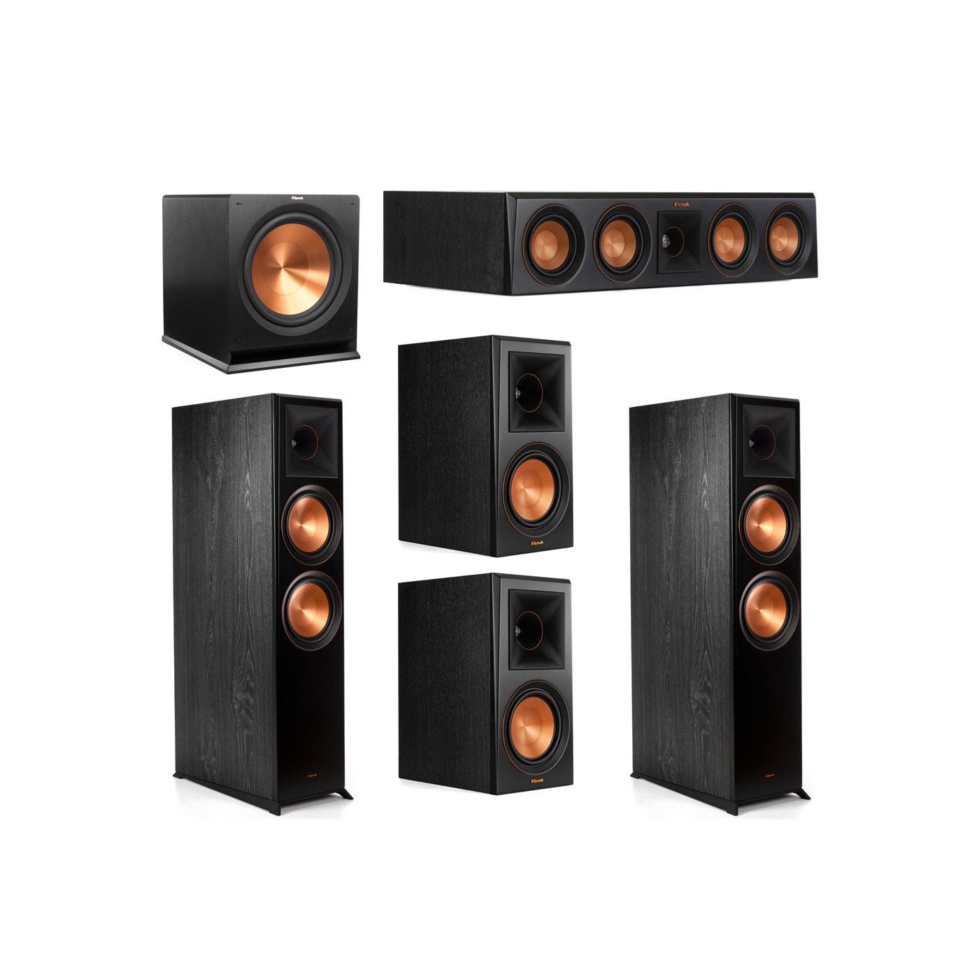 Klipsch 5.1 System with 2 RP-8000F Floorstanding Speakers, 1 Klipsch RP-404C Center Speaker, 2 Klipsch RP-600M Surround Speakers, 1 Klipsch R-115SW Subwoofer