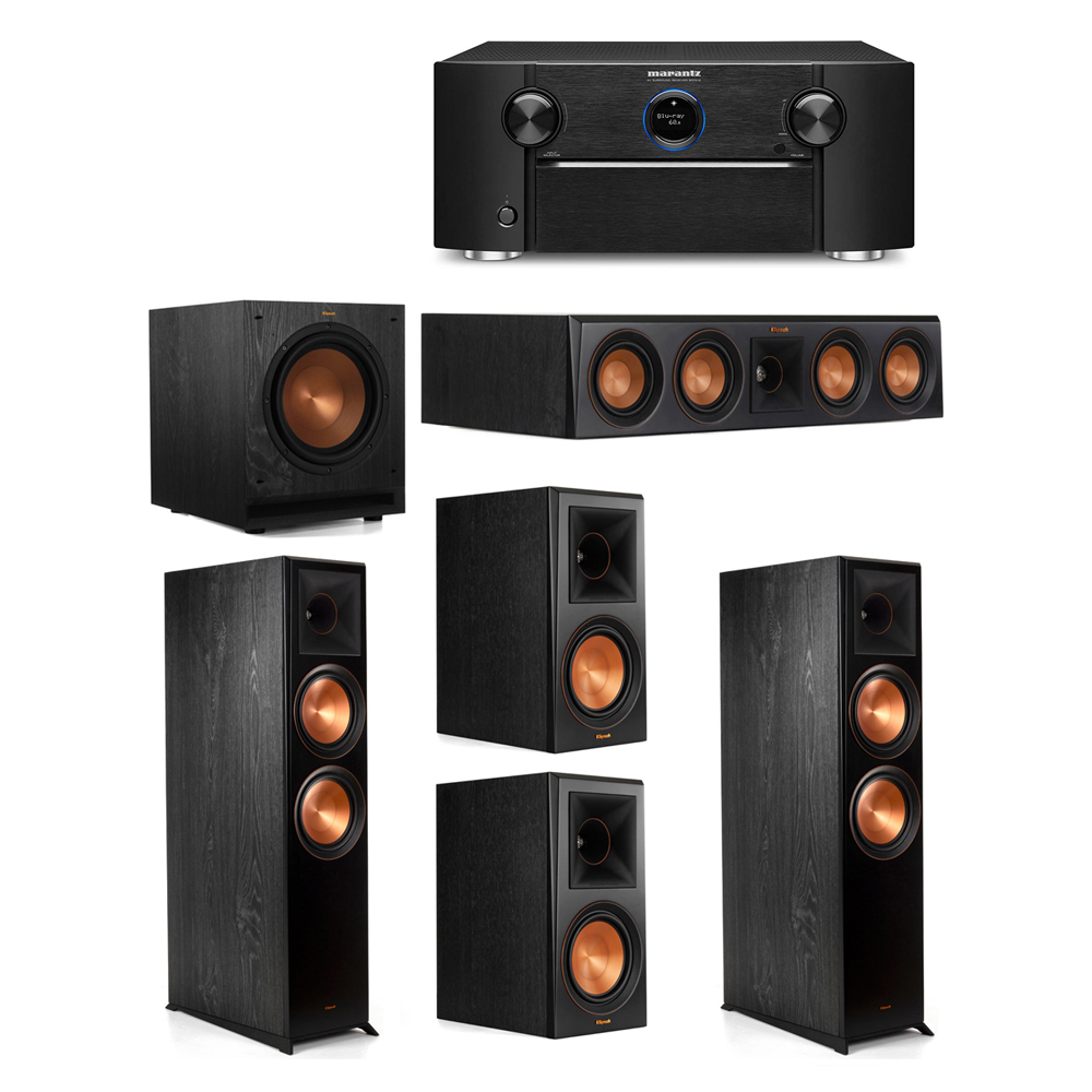 Klipsch 5.1 System with 2 RP-8000F Floorstanding Speakers, 1 Klipsch RP-404C Center Speaker, 2 Klipsch RP-600M Surround Speakers, 1 Klipsch SPL-100 Subwoofer, 1 Marantz SR7012 A/V Receiver