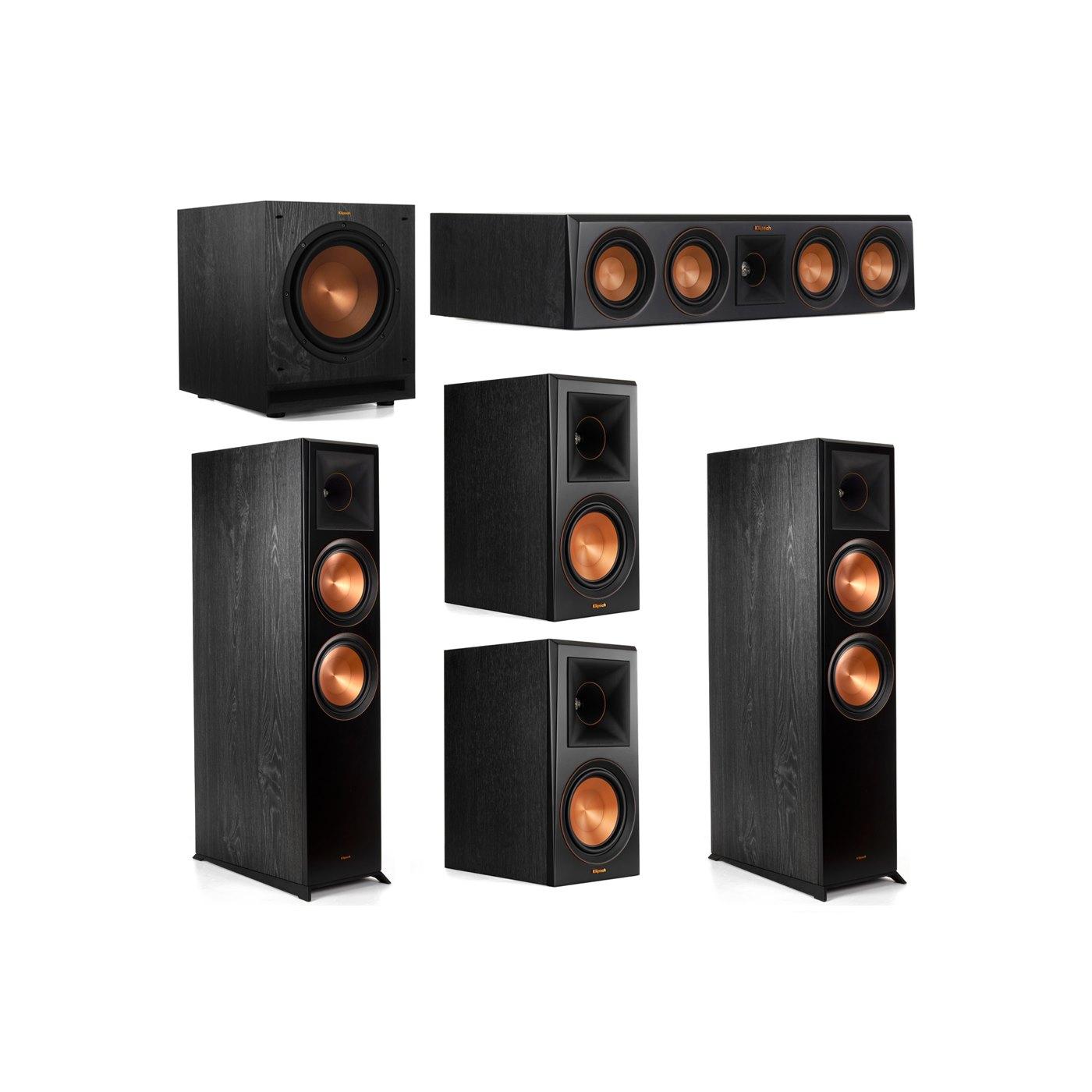 Klipsch 5.1 System with 2 RP-8000F Floorstanding Speakers, 1 Klipsch RP-404C Center Speaker, 2 Klipsch RP-600M Surround Speakers, 1 Klipsch SPL-100 Subwoofer