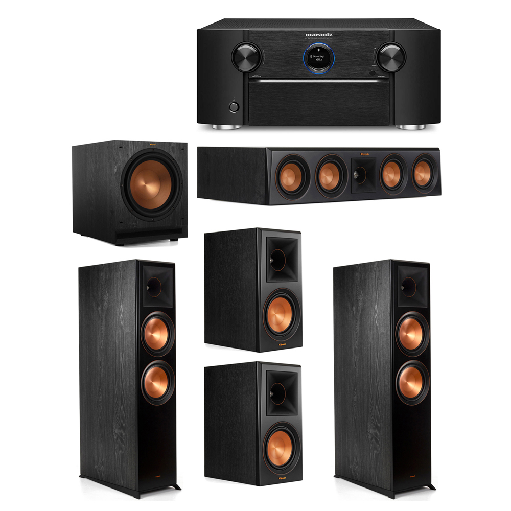 Klipsch 5.1 System with 2 RP-8000F Floorstanding Speakers, 1 Klipsch RP-404C Center Speaker, 2 Klipsch RP-600M Surround Speakers, 1 Klipsch SPL-120 Subwoofer, 1 Marantz SR7012 A/V Receiver