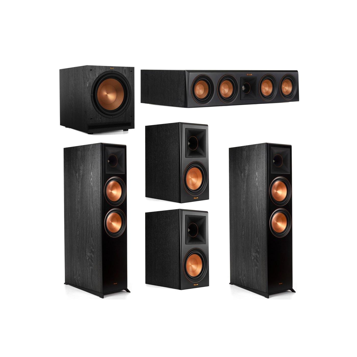 Klipsch 5.1 System with 2 RP-8000F Floorstanding Speakers, 1 Klipsch RP-404C Center Speaker, 2 Klipsch RP-600M Surround Speakers, 1 Klipsch SPL-120 Subwoofer