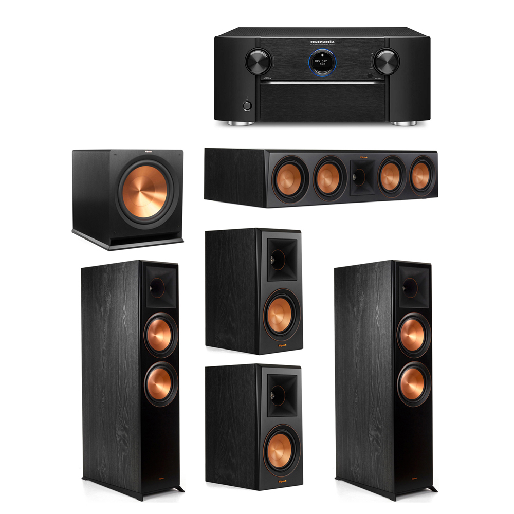 Klipsch 5.1 System with 2 RP-8000F Floorstanding Speakers, 1 Klipsch RP-504C Center Speaker, 2 Klipsch RP-500M Surround Speakers, 1 Klipsch R-115SW Subwoofer, 1 Marantz SR7012 A/V Receiver