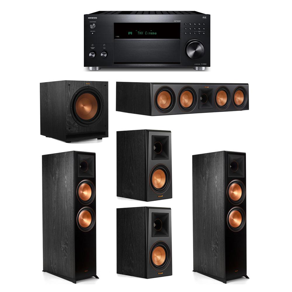 Klipsch 5.1 System with 2 RP-8000F,  1 RP-504C, 2 RP-500M, 1 SPL-100, 1 Onkyo TX-RZ830 Receiver