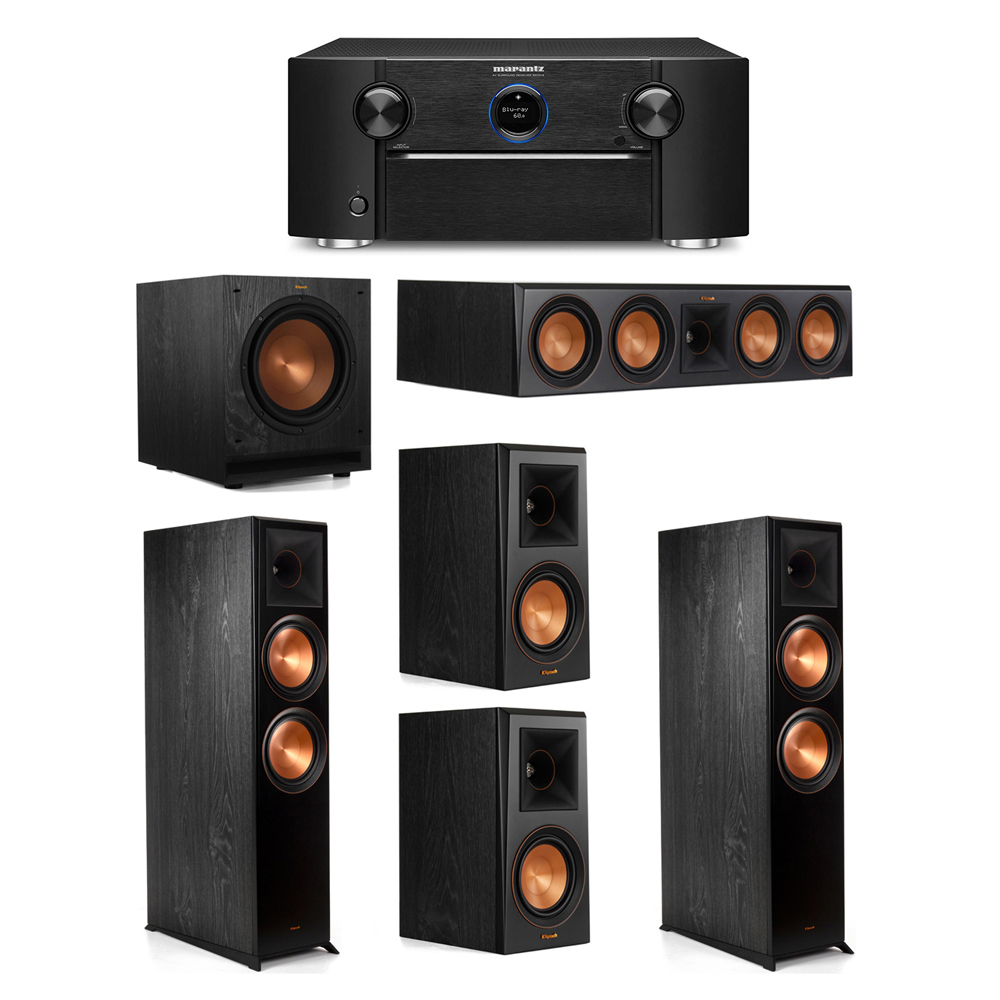 Klipsch 5.1 System with 2 RP-8000F Floorstanding Speakers, 1 Klipsch RP-504C Center Speaker, 2 Klipsch RP-500M Surround Speakers, 1 Klipsch SPL-100 Subwoofer, 1 Marantz SR7012 A/V Receiver