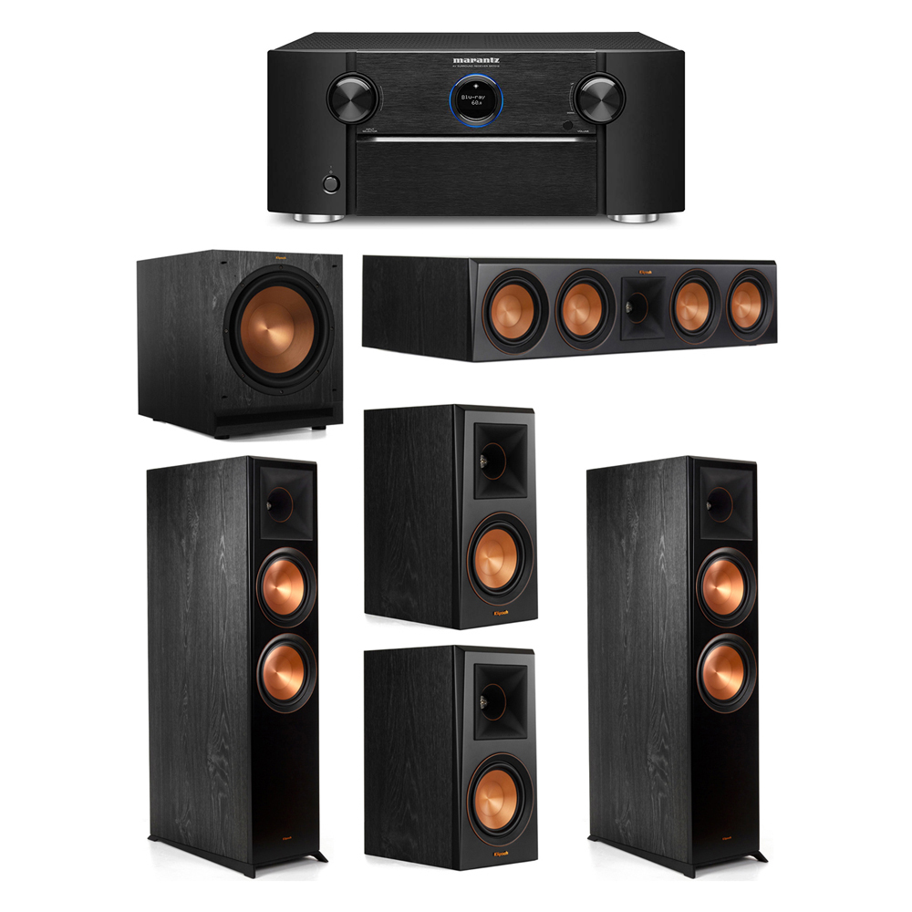 Klipsch 5.1 System with 2 RP-8000F Floorstanding Speakers, 1 Klipsch RP-504C Center Speaker, 2 Klipsch RP-500M Surround Speakers, 1 Klipsch SPL-120 Subwoofer, 1 Marantz SR7012 A/V Receiver