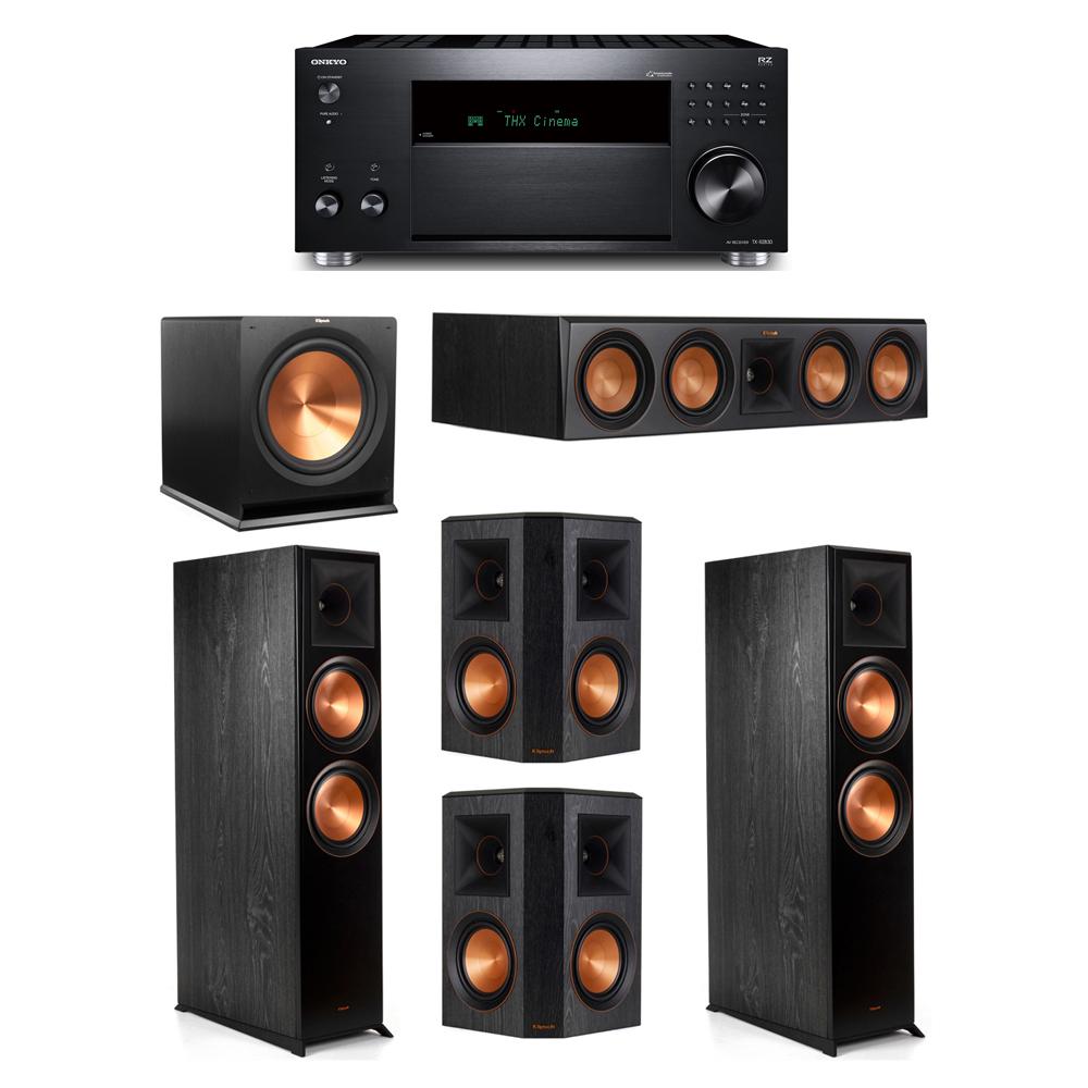 Klipsch 5.1 System with 2 RP-8000F,  1 RP-504C, 2 RP-502S, 1 R-115SW,  1 Onkyo TX-RZ830 Receiver