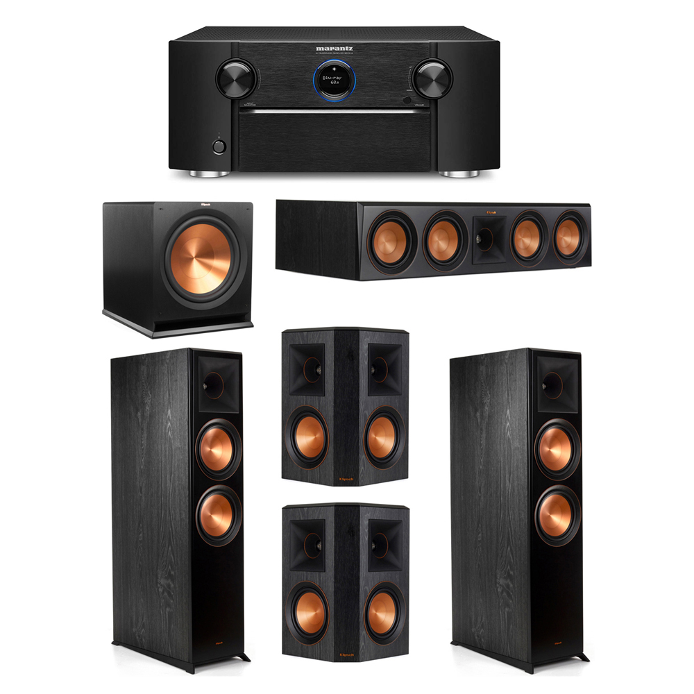 Klipsch 5.1 System with 2 RP-8000F Floorstanding Speakers, 1 Klipsch RP-504C Center Speaker, 2 Klipsch RP-502S Surround Speakers, 1 Klipsch R-115SW Subwoofer, 1 Marantz SR7012 A/V Receiver