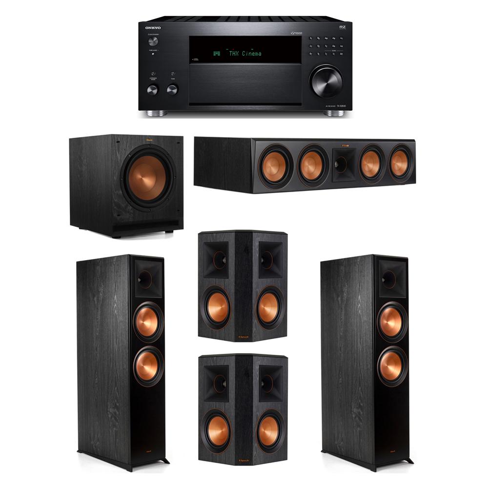 Klipsch 5.1 System with 2 RP-8000F,  1 RP-504C, 2 RP-502S, 1 SPL-100, 1 Onkyo TX-RZ830 Receiver