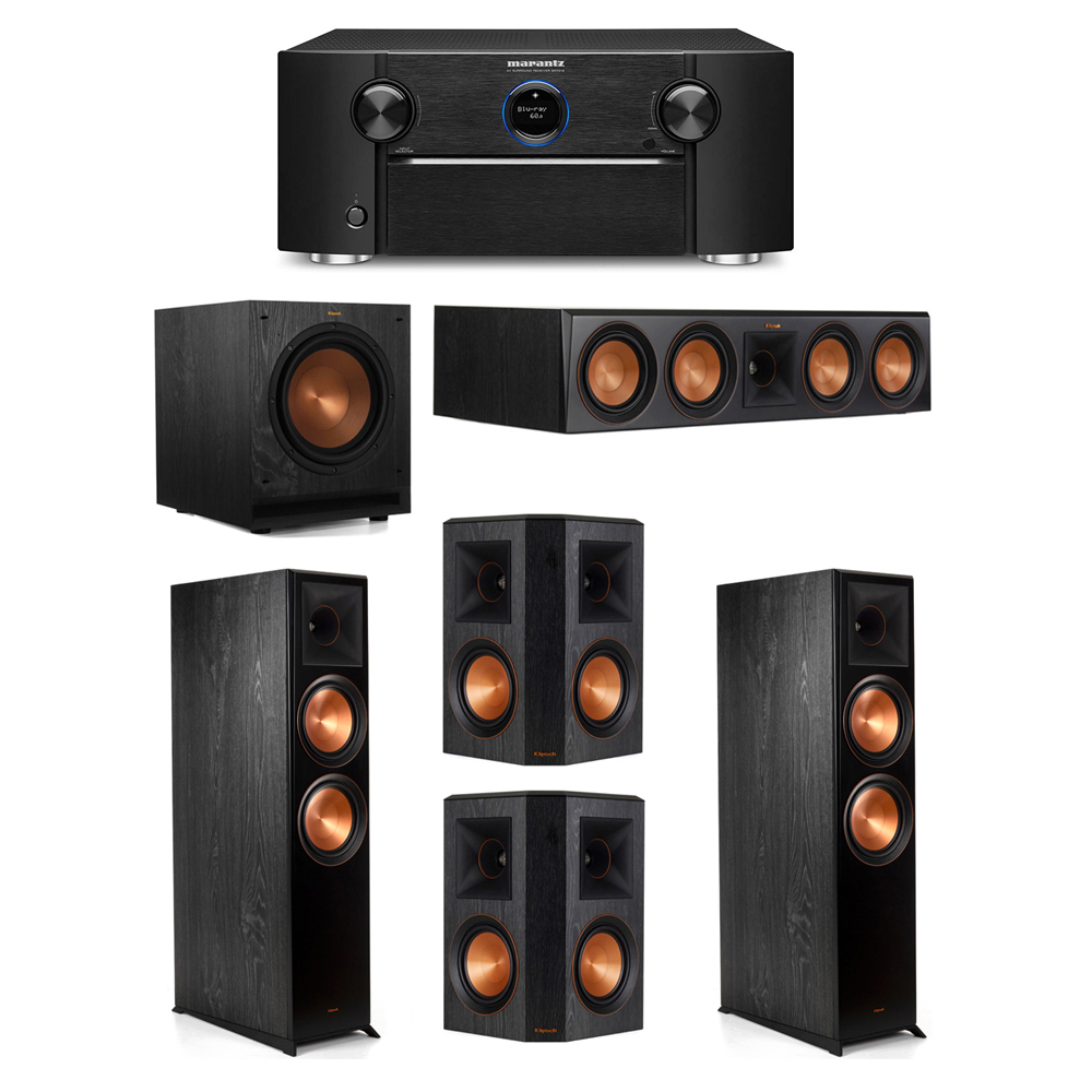 Klipsch 5.1 System with 2 RP-8000F Floorstanding Speakers, 1 Klipsch RP-504C Center Speaker, 2 Klipsch RP-502S Surround Speakers, 1 Klipsch SPL-100 Subwoofer, 1 Marantz SR7012 A/V Receiver