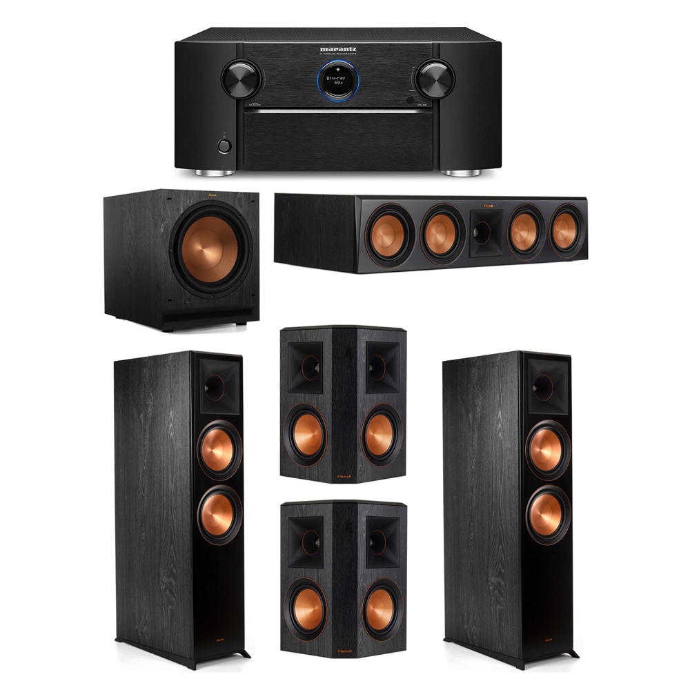 Klipsch 5.1 System with 2 RP-8000F Floorstanding Speakers, 1 Klipsch RP-504C Center Speaker, 2 Klipsch RP-502S Surround Speakers, 1 Klipsch SPL-120 Subwoofer, 1 Marantz SR7012 A/V Receiver