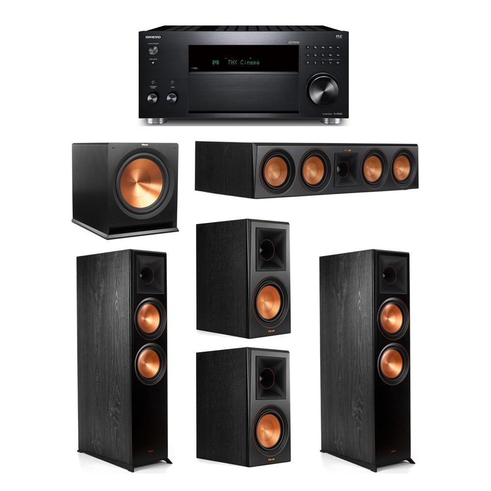 Klipsch 5.1 System with 2 RP-8000F,  1 RP-504C, 2 RP-600M, 1 R-115SW,  1 Onkyo TX-RZ830 Receiver