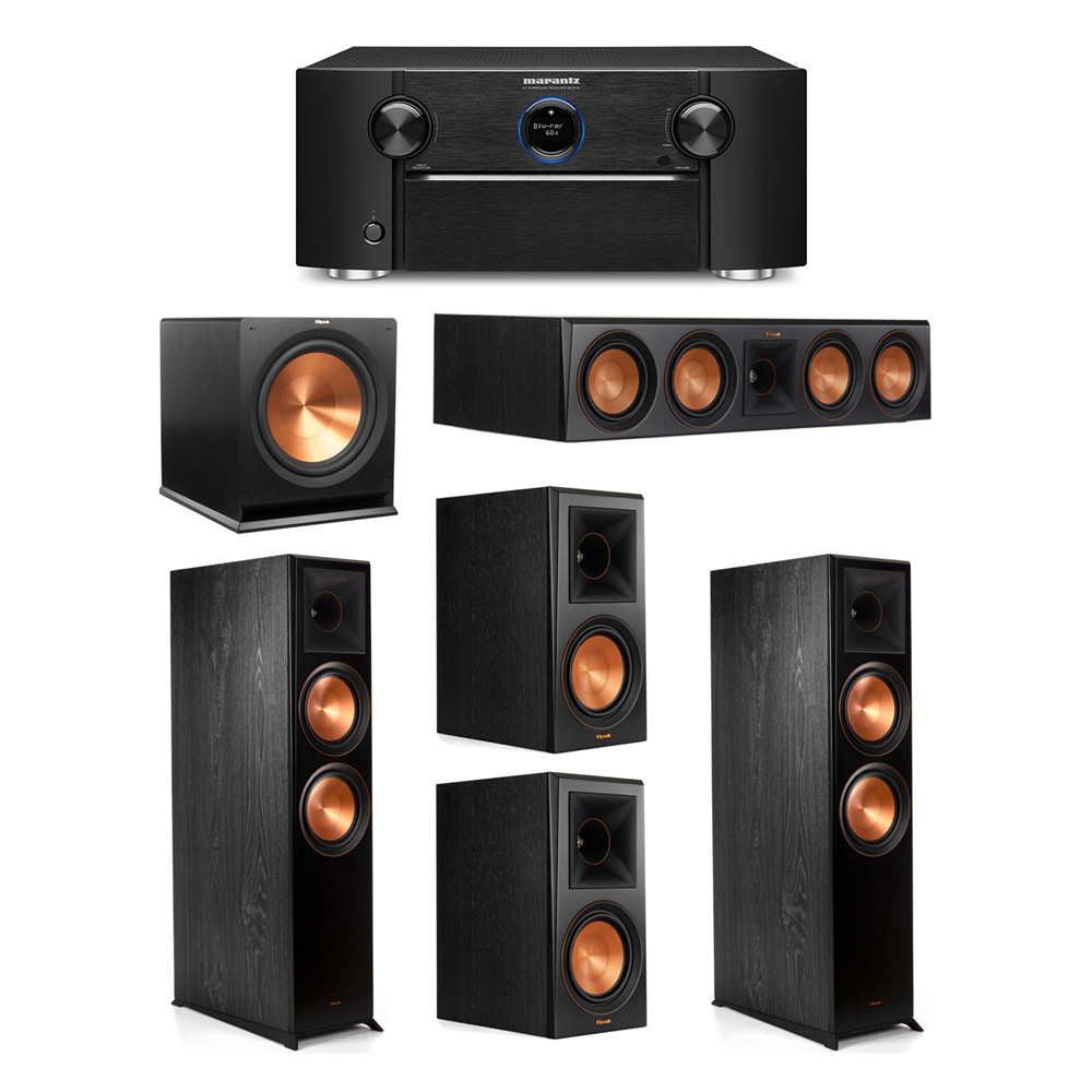 Klipsch 5.1 System with 2 RP-8000F Floorstanding Speakers, 1 Klipsch RP-504C Center Speaker, 2 Klipsch RP-600M Surround Speakers, 1 Klipsch R-115SW Subwoofer, 1 Marantz SR7012 A/V Receiver