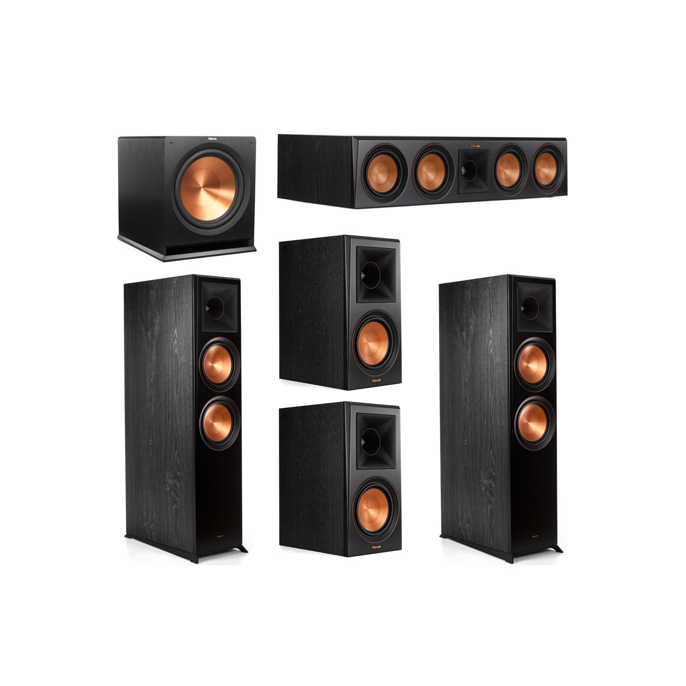 Klipsch 5.1 System with 2 RP-8000F Floorstanding Speakers, 1 Klipsch RP-504C Center Speaker, 2 Klipsch RP-600M Surround Speakers, 1 Klipsch R-115SW Subwoofer