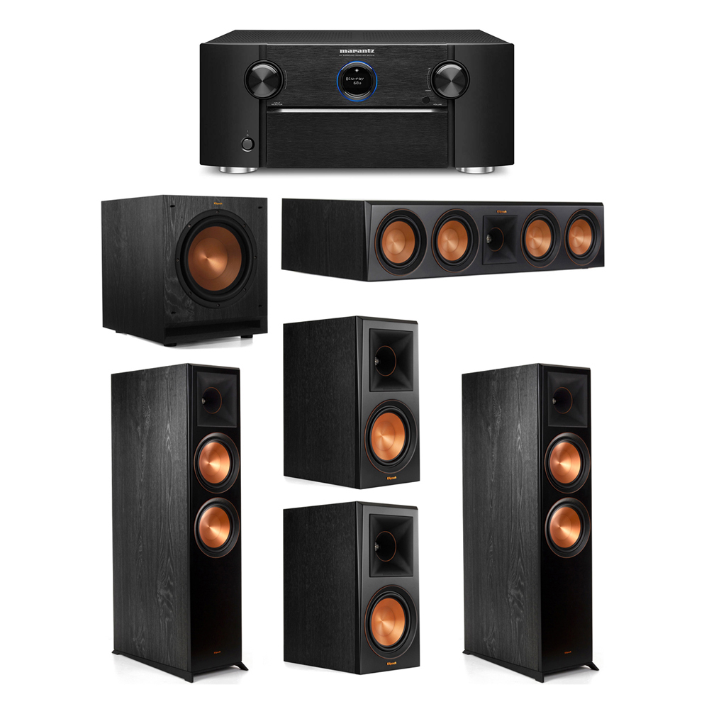 Klipsch 5.1 System with 2 RP-8000F Floorstanding Speakers, 1 Klipsch RP-504C Center Speaker, 2 Klipsch RP-600M Surround Speakers, 1 Klipsch SPL-100 Subwoofer, 1 Marantz SR7012 A/V Receiver