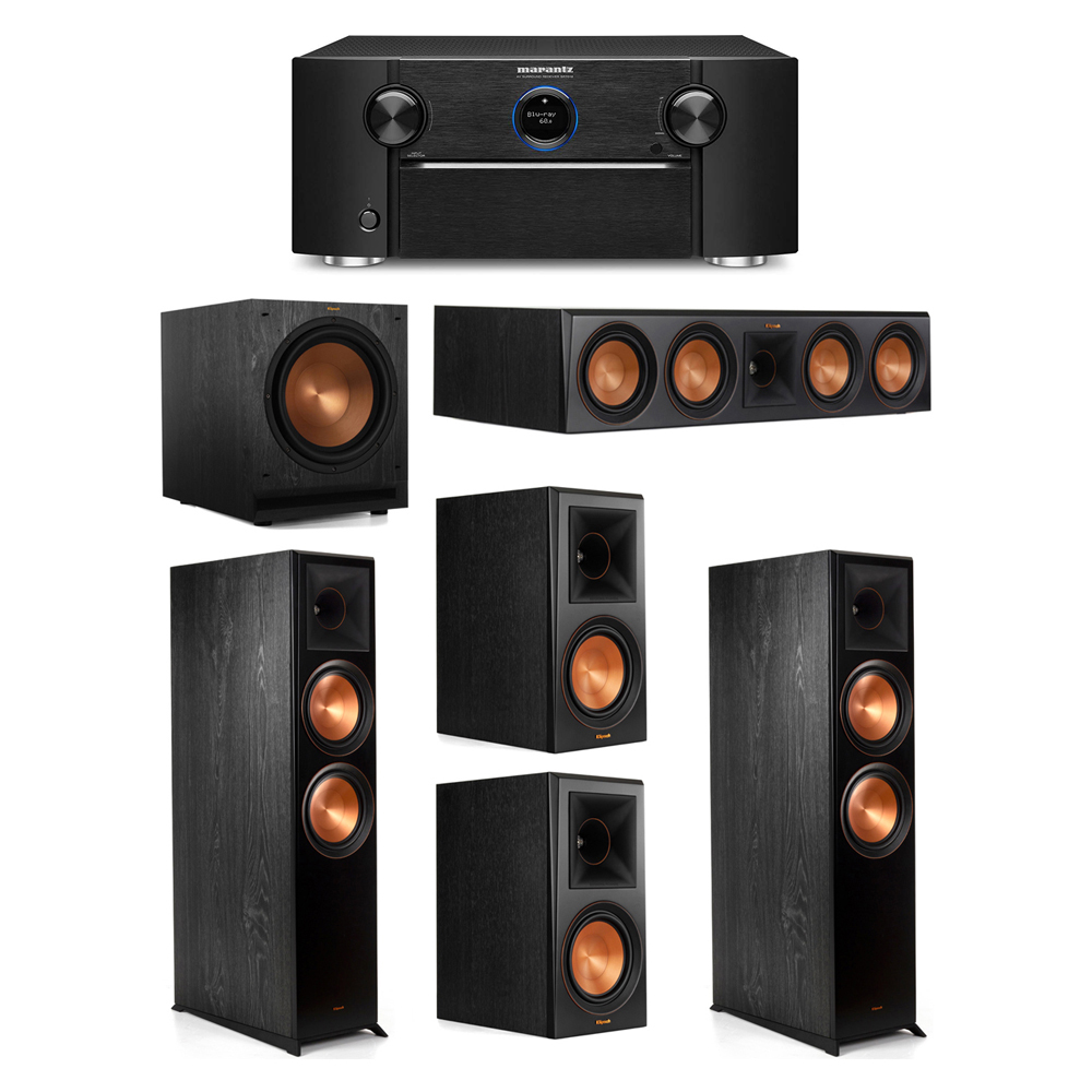 Klipsch 5.1 System with 2 RP-8000F Floorstanding Speakers, 1 Klipsch RP-504C Center Speaker, 2 Klipsch RP-600M Surround Speakers, 1 Klipsch SPL-120 Subwoofer, 1 Marantz SR7012 A/V Receiver