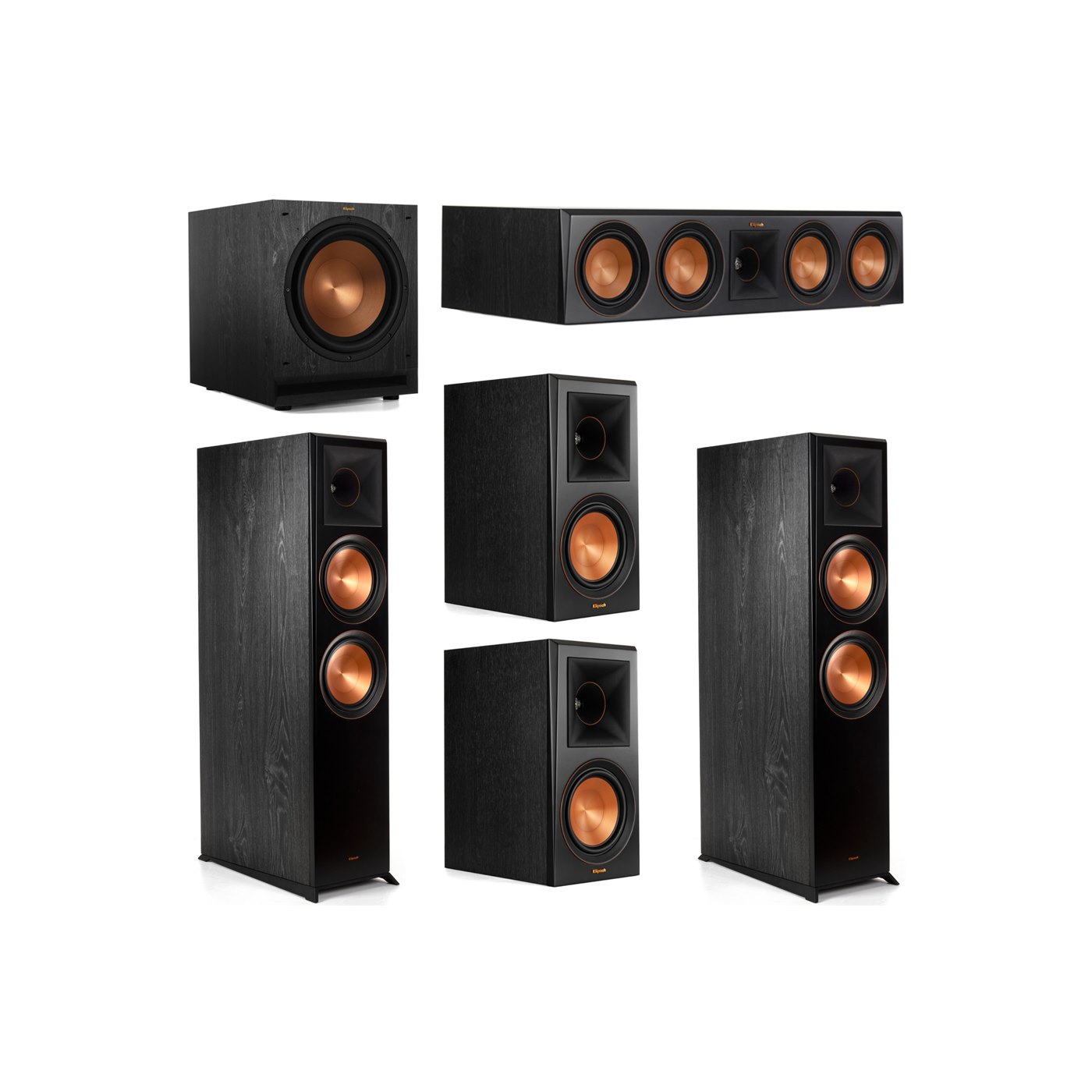 Klipsch 5.1 System with 2 RP-8000F Floorstanding Speakers, 1 Klipsch RP-504C Center Speaker, 2 Klipsch RP-600M Surround Speakers, 1 Klipsch SPL-120 Subwoofer