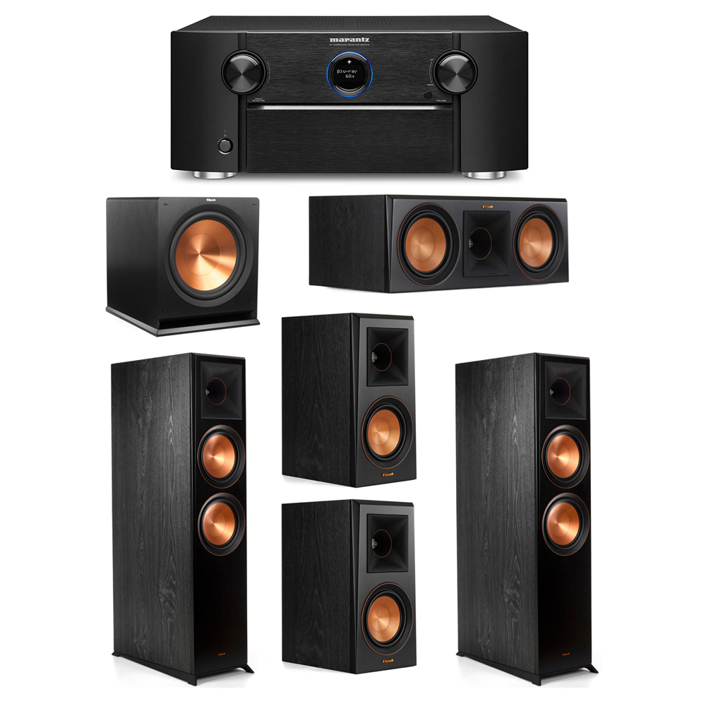 Klipsch 5.1 System with 2 RP-8000F Floorstanding Speakers, 1 Klipsch RP-600C Center Speaker, 2 Klipsch RP-500M Surround Speakers, 1 Klipsch R-115SW Subwoofer, 1 Marantz SR7012 A/V Receiver