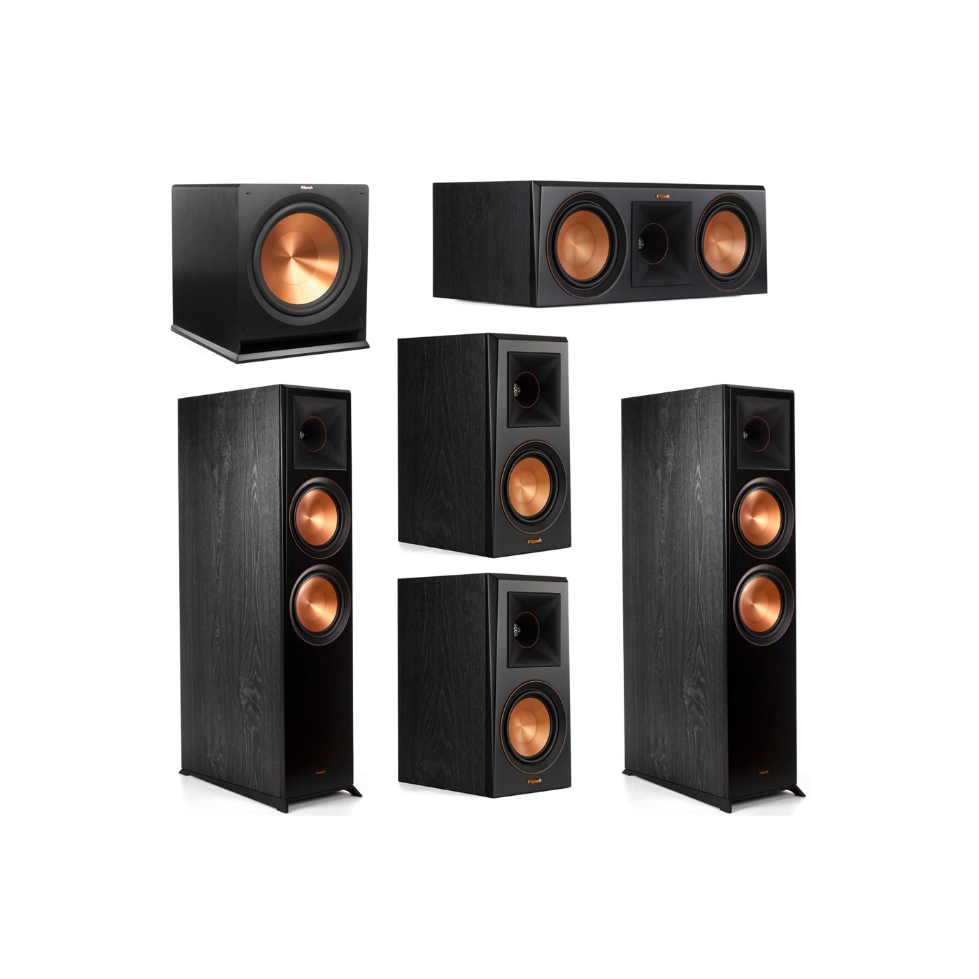 Klipsch 5.1 System with 2 RP-8000F Floorstanding Speakers, 1 Klipsch RP-600C Center Speaker, 2 Klipsch RP-500M Surround Speakers, 1 Klipsch R-115SW Subwoofer