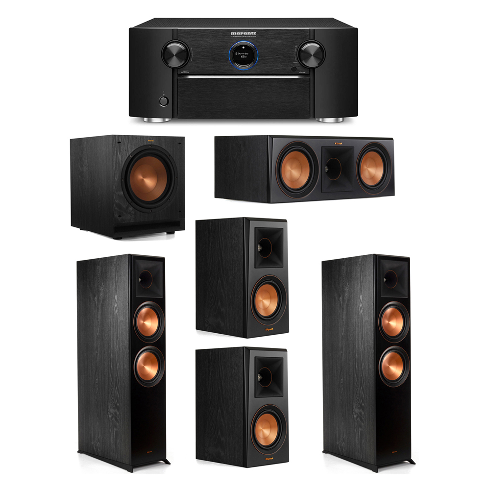 Klipsch 5.1 System with 2 RP-8000F Floorstanding Speakers, 1 Klipsch RP-600C Center Speaker, 2 Klipsch RP-500M Surround Speakers, 1 Klipsch SPL-100 Subwoofer, 1 Marantz SR7012 A/V Receiver