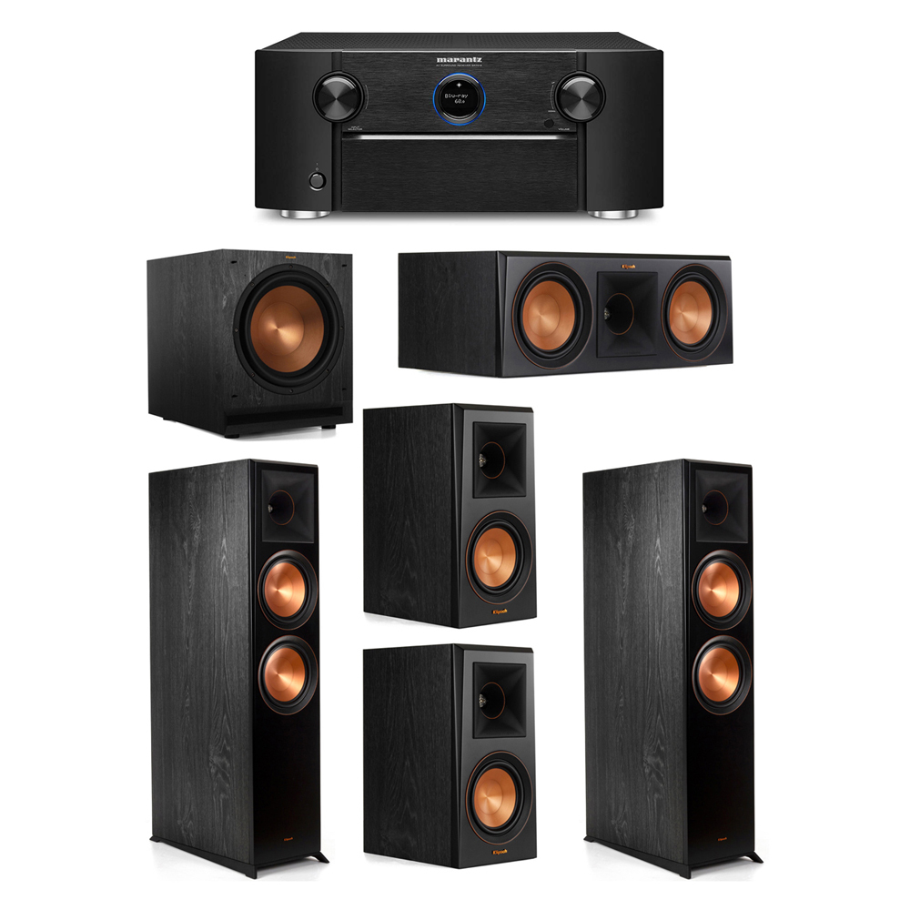 Klipsch 5.1 System with 2 RP-8000F Floorstanding Speakers, 1 Klipsch RP-600C Center Speaker, 2 Klipsch RP-500M Surround Speakers, 1 Klipsch SPL-120 Subwoofer, 1 Marantz SR7012 A/V Receiver