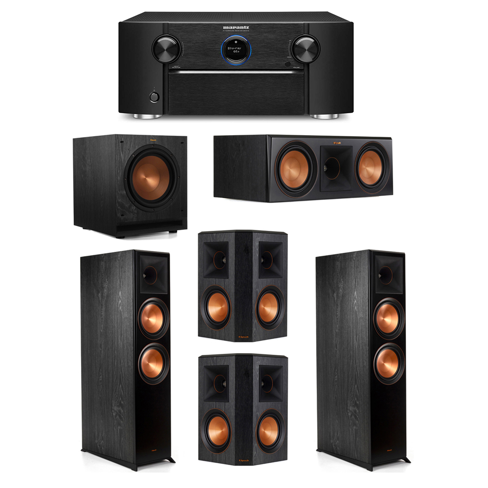 Klipsch 5.1 System with 2 RP-8000F Floorstanding Speakers, 1 Klipsch RP-600C Center Speaker, 2 Klipsch RP-502S Surround Speakers, 1 Klipsch SPL-100 Subwoofer, 1 Marantz SR7012 A/V Receiver