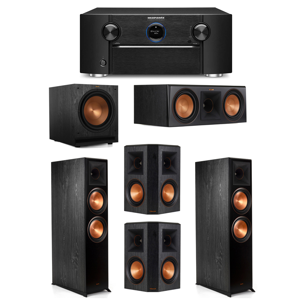 Klipsch 5.1 System with 2 RP-8000F Floorstanding Speakers, 1 Klipsch RP-600C Center Speaker, 2 Klipsch RP-502S Surround Speakers, 1 Klipsch SPL-120 Subwoofer, 1 Marantz SR7012 A/V Receiver