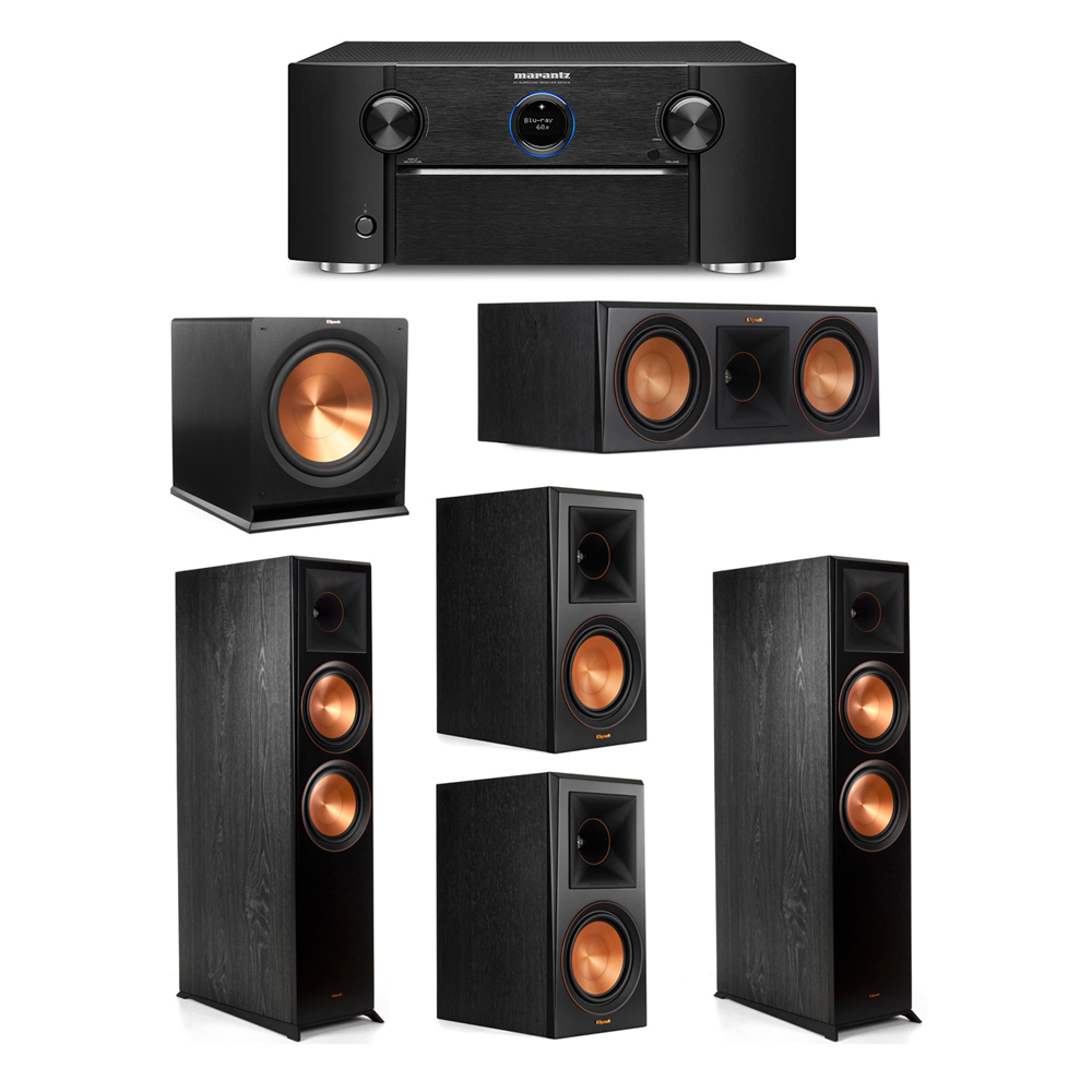 Klipsch 5.1 System with 2 RP-8000F Floorstanding Speakers, 1 Klipsch RP-600C Center Speaker, 2 Klipsch RP-600M Surround Speakers, 1 Klipsch R-115SW Subwoofer, 1 Marantz SR7012 A/V Receiver