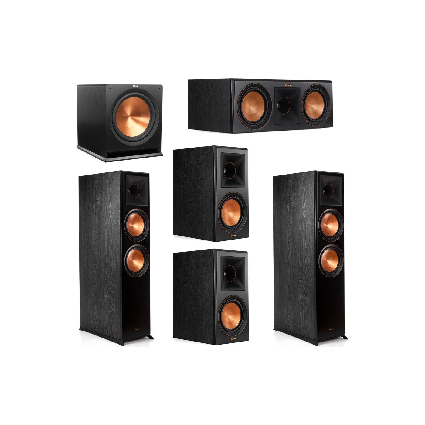 Klipsch 5.1 System with 2 RP-8000F Floorstanding Speakers, 1 Klipsch RP-600C Center Speaker, 2 Klipsch RP-600M Surround Speakers, 1 Klipsch R-115SW Subwoofer