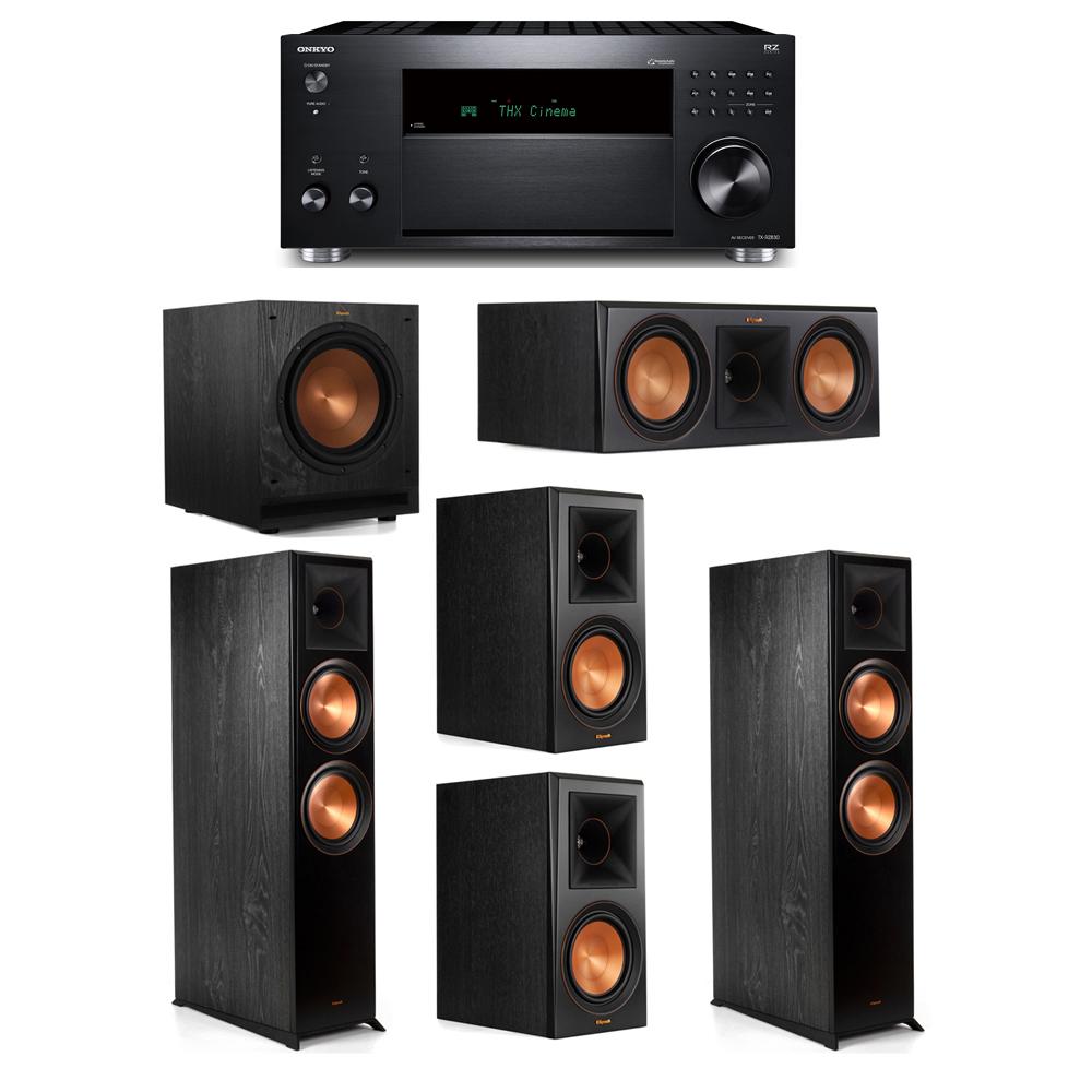 Klipsch 5.1 System with 2 RP-8000F, 1 RP-600C, 2 RP-600M, 1 SPL-100, 1 Onkyo TX-RZ830 Receiver