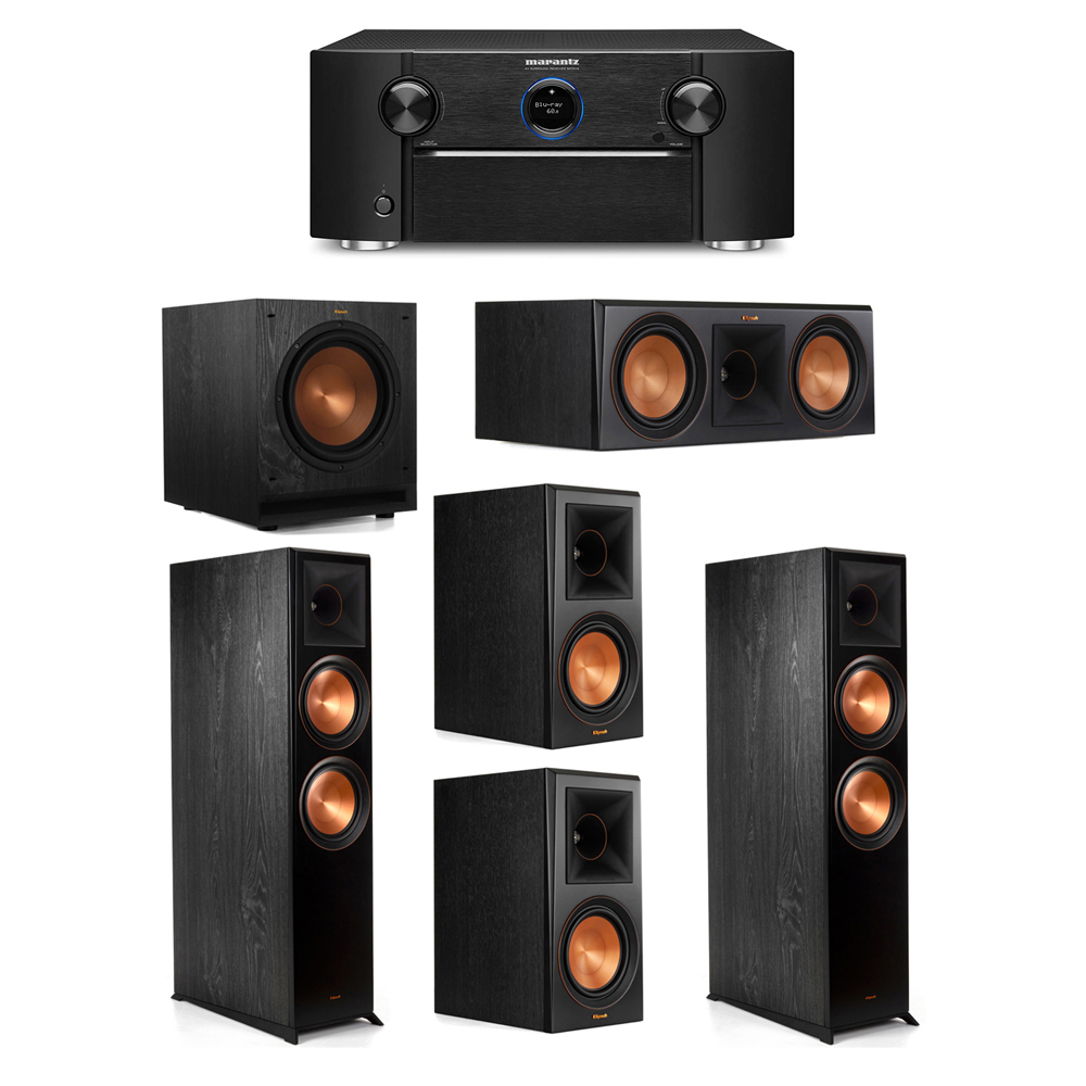 Klipsch 5.1 System with 2 RP-8000F Floorstanding Speakers, 1 Klipsch RP-600C Center Speaker, 2 Klipsch RP-600M Surround Speakers, 1 Klipsch SPL-100 Subwoofer, 1 Marantz SR7012 A/V Receiver